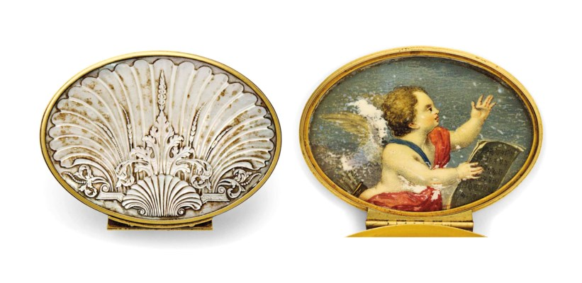 A GOLD-MOUNTED MOTHER-OF-PEARL