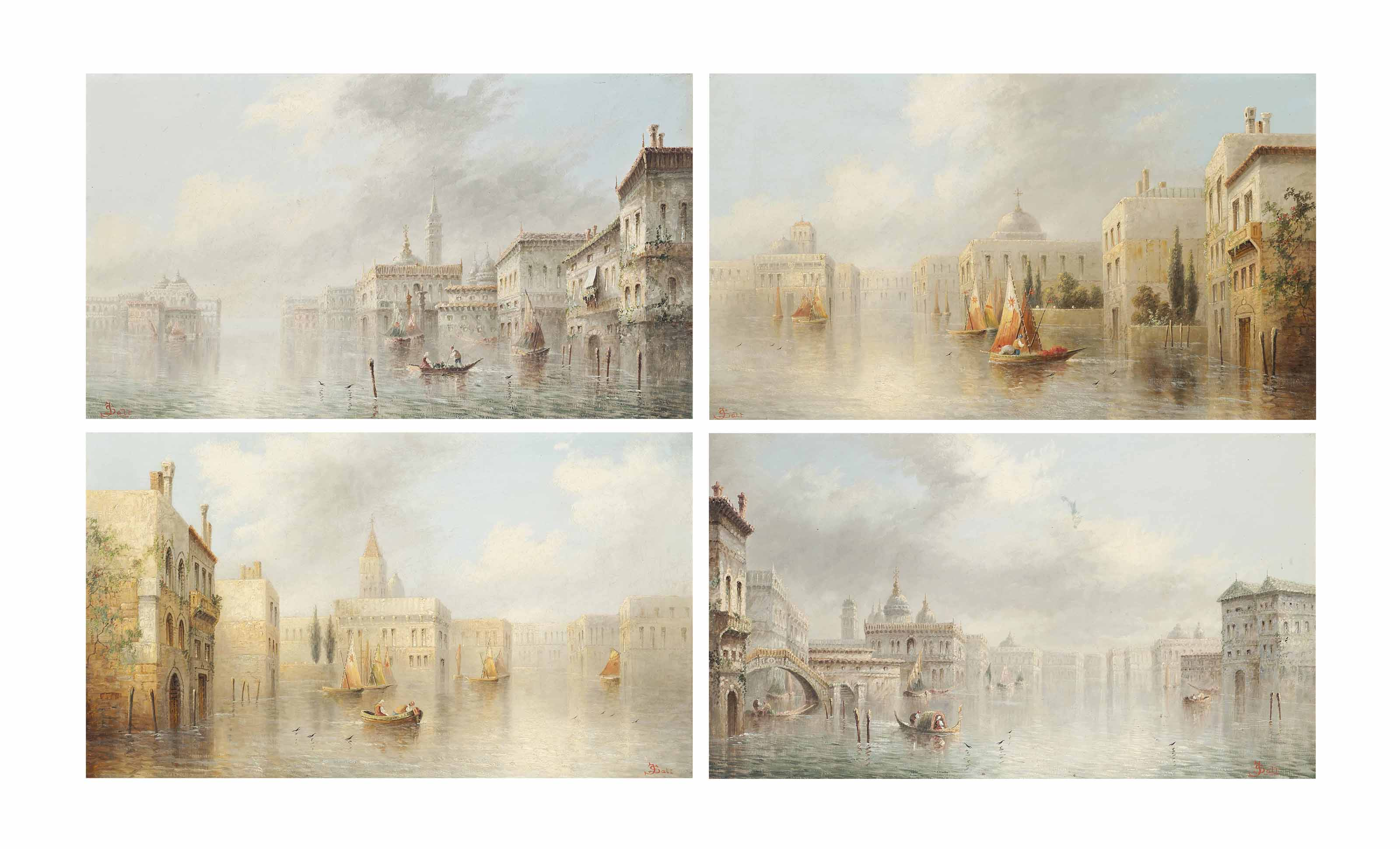 Set of four Venetian capriccios