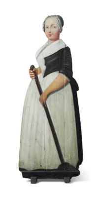 A GEORGE III POLYCHROME-PAINTE