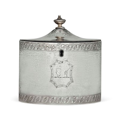 A GEORGE III SILVER OVAL TEA C