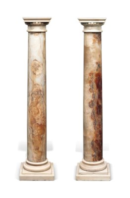 A PAIR OF ONYX AND WHITE-MARBL