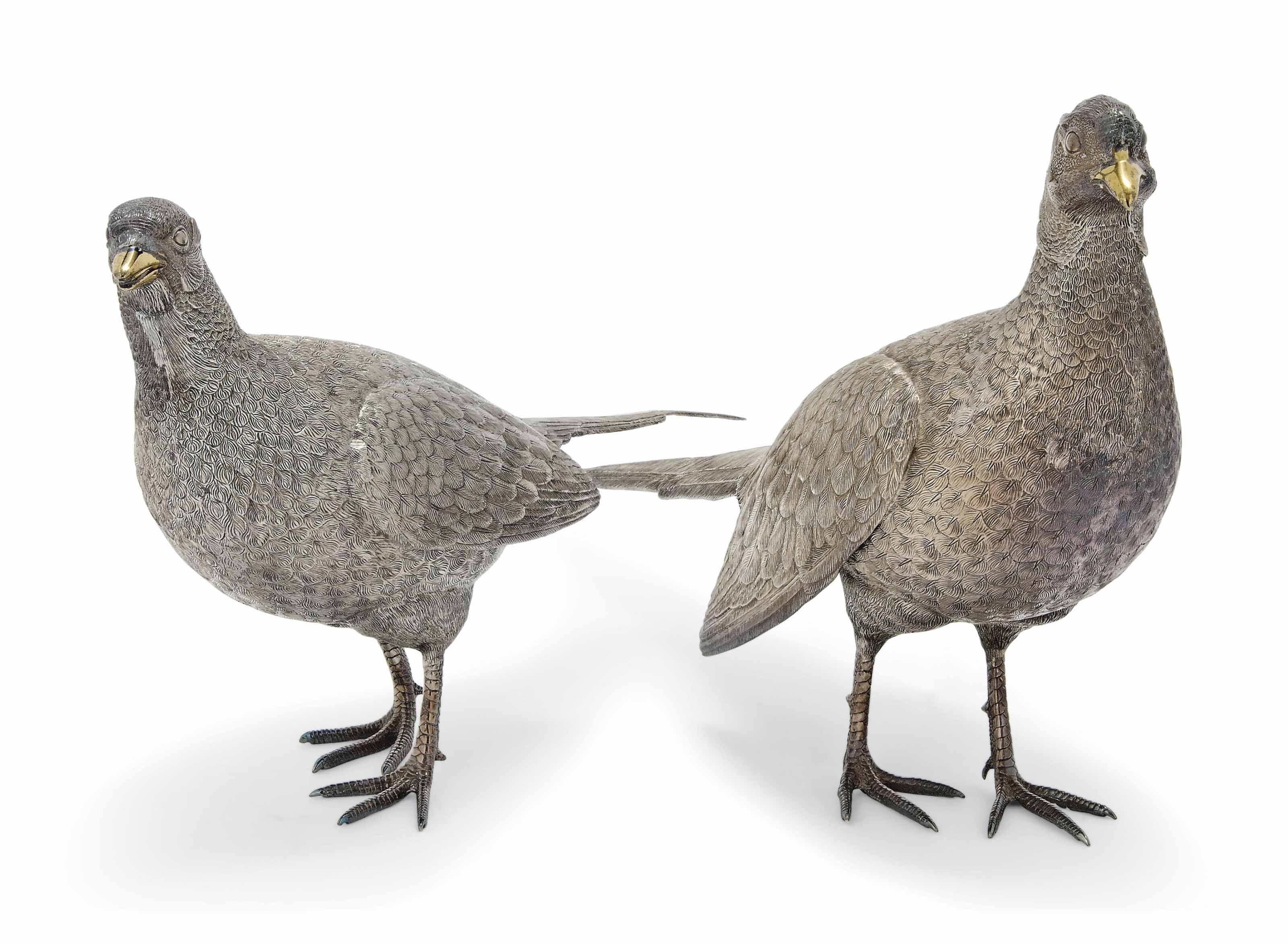 A PAIR OF LARGE MODERN SILVER PHEASANT TABLE ORNAMENTS