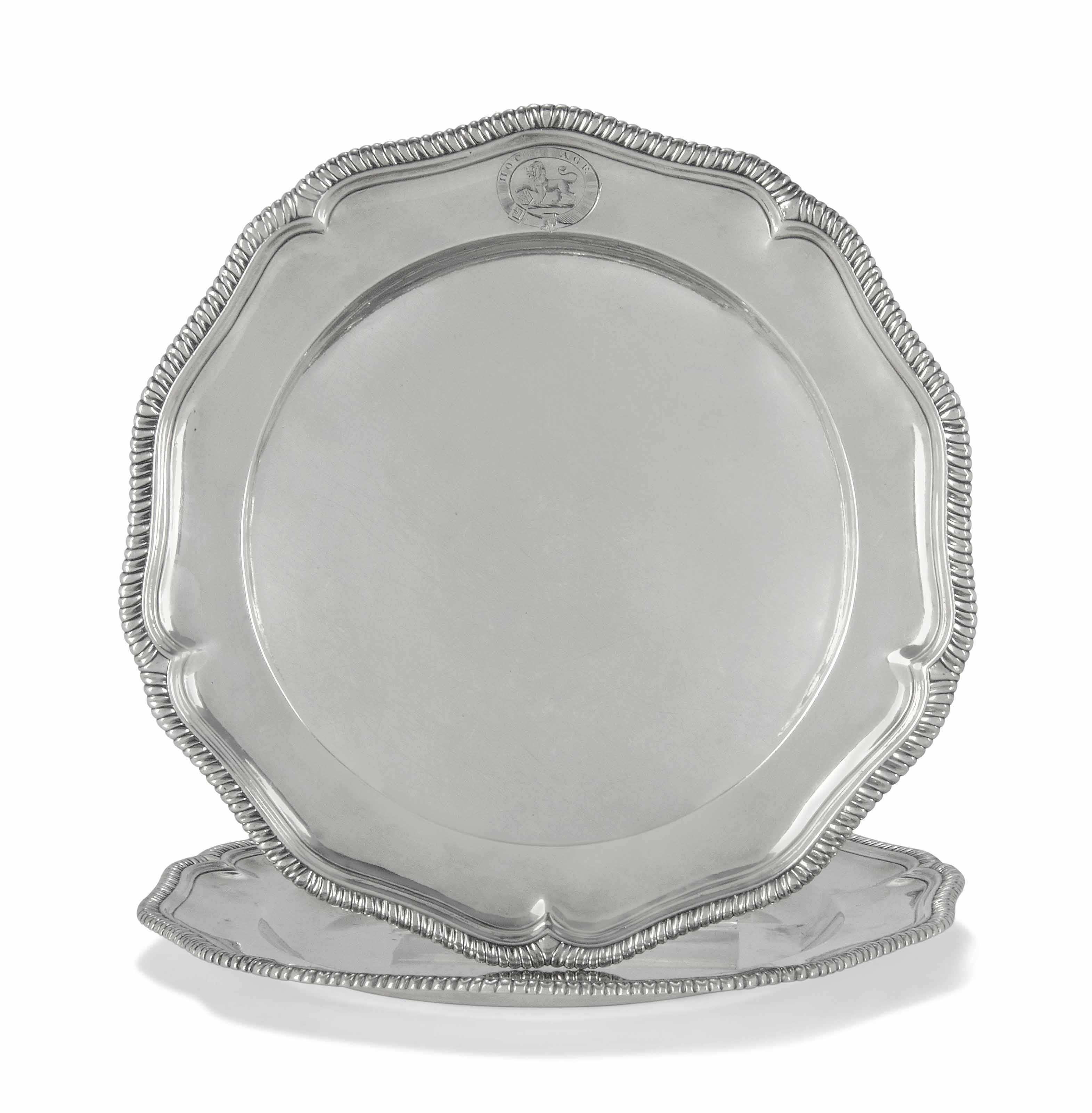 A PAIR OF GEORGE II SILVER DINNER PLATES