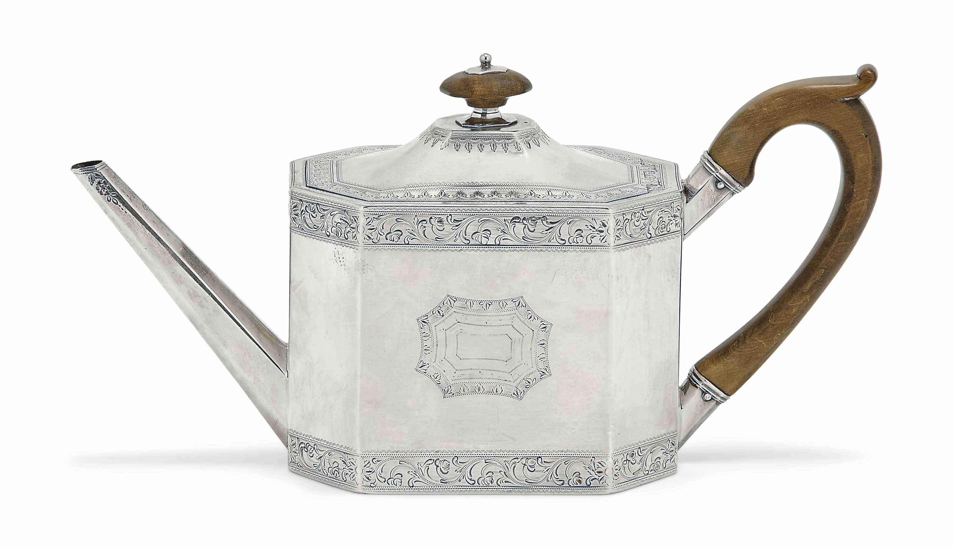 A GEORGE III SILVER BRIGHT-ENGRAVED TEAPOT