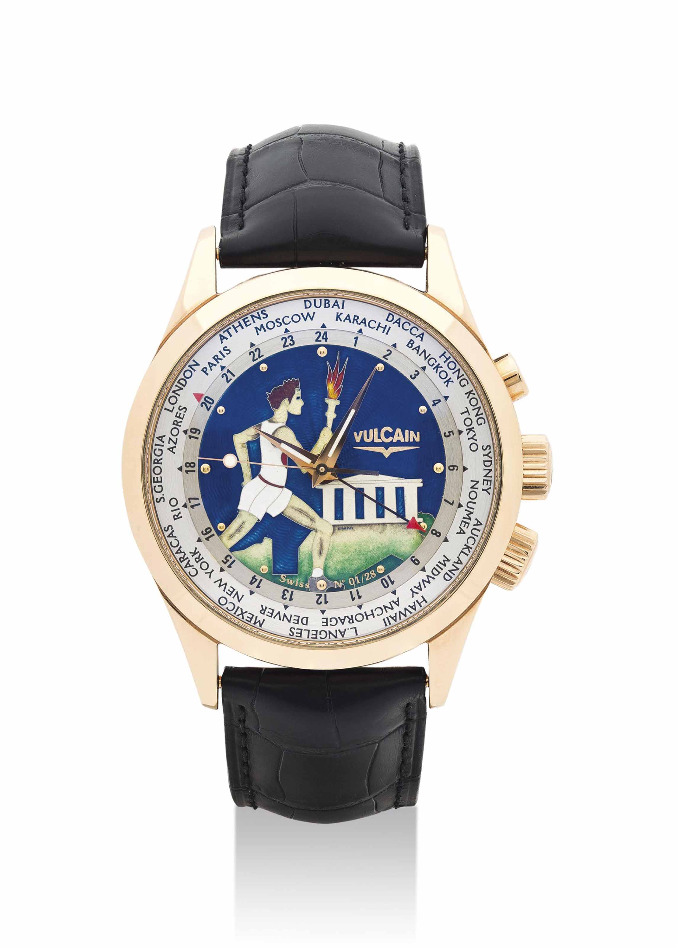 VULCAIN. A FINE 18K PINK GOLD LIMITED EDITION WORLTIME WRISTWATCH WITH SWEEP CENTRE SECONDS, ALARM AND CLOISONNÉ ENAMEL DIAL