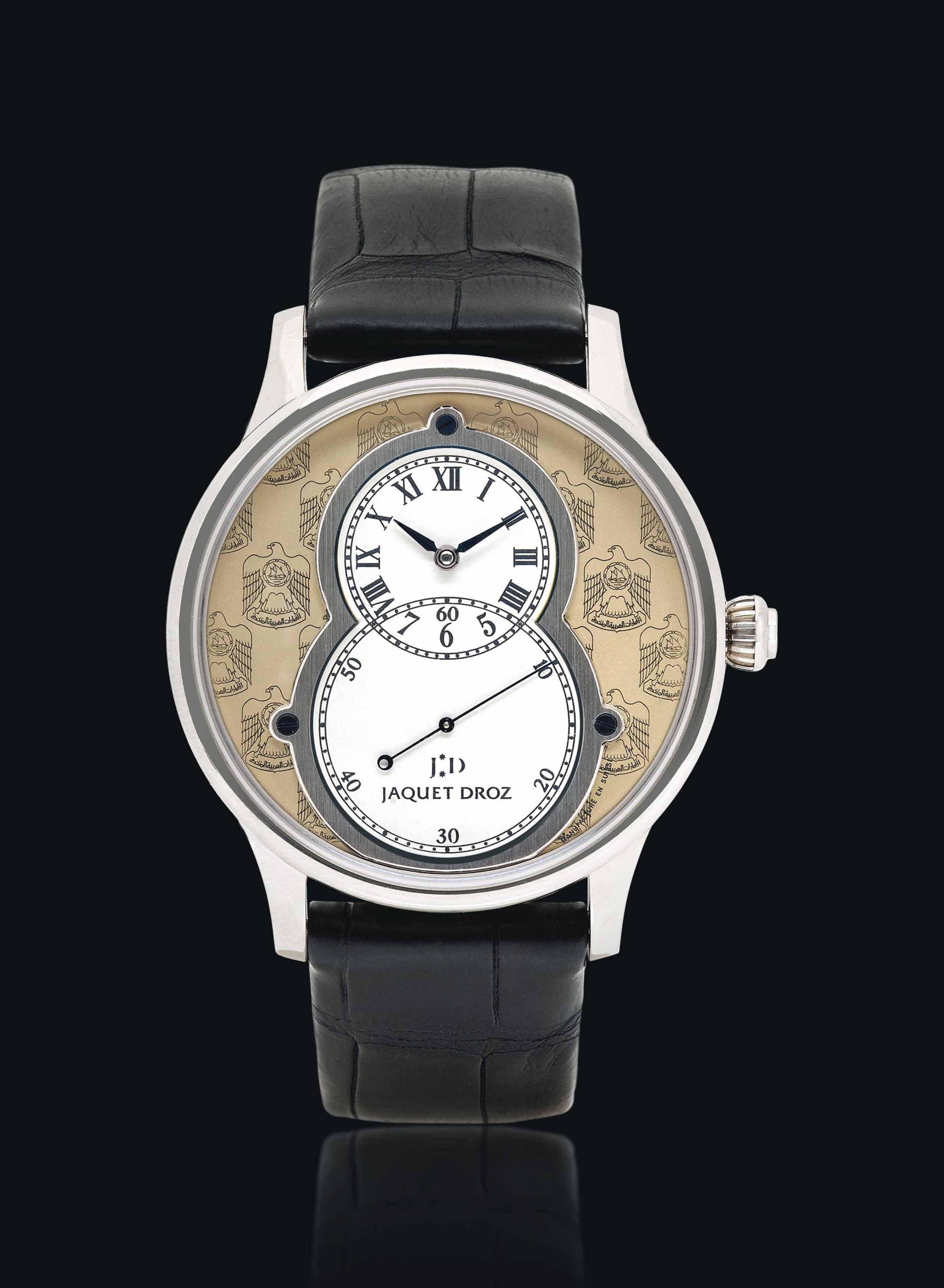 JAQUET DROZ. A FINE AND RARE 18K WHITE GOLD LIMITED EDITION AUTOMATIC WRISTWATCH WITH OFF-CENTERED TIME DISPLAY, MADE FOR THE UNITED ARAB EMIRATES