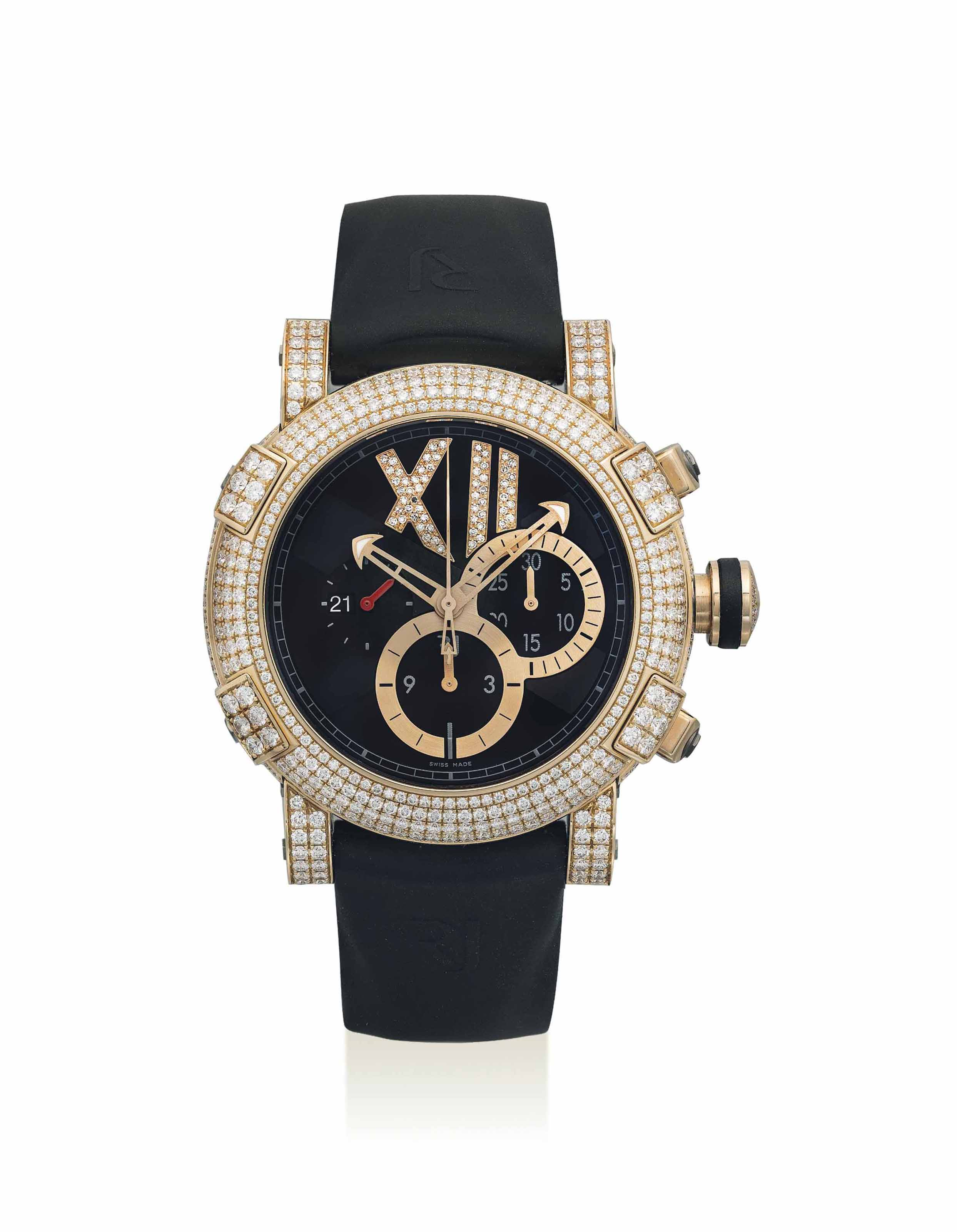 ROMAIN JEROME. A FINE 18K PINK GOLD, TITANIUM, STAINLESS STEEL AND DIAMOND-SET AUTOMATIC CHRONOGRAPH WRISTWATCH WITH DATE, MADE WITH PARTS OF THE TITANIC
