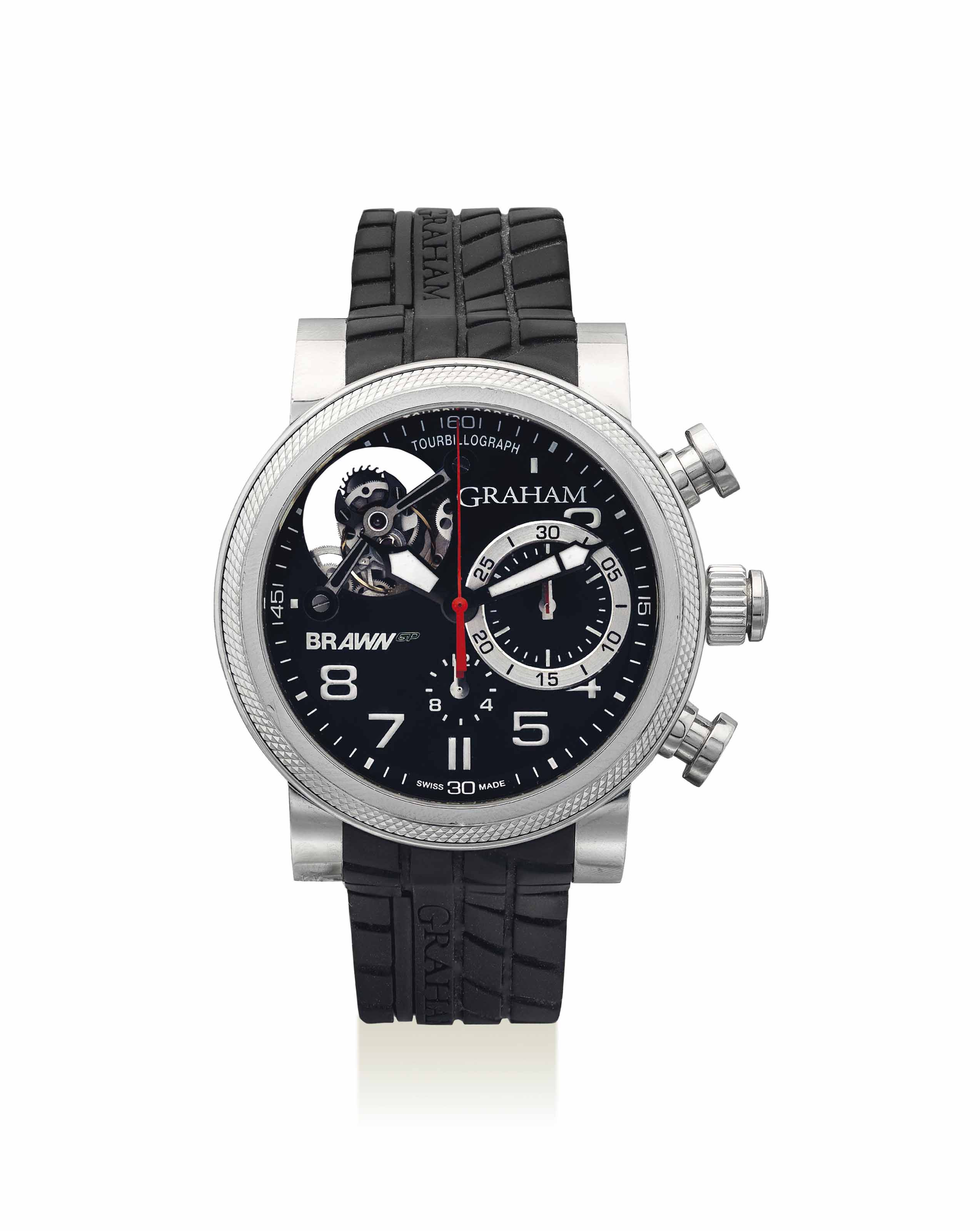 GRAHAM. A LARGE STAINLESS STEEL LIMITED EDITION AUTOMATIC FLYING TOURBILLON CHRONOGRAPH WRISTWATCH