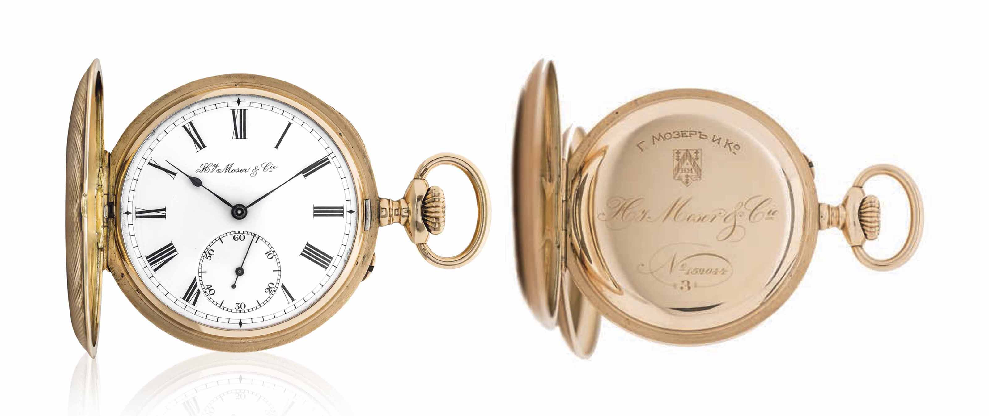 H. MOSER & CIE. A VERY FINE 14K GOLD HUNTER CASE KEYLESS LEVER WATCH, MADE FOR THE RUSSIAN MARKET
