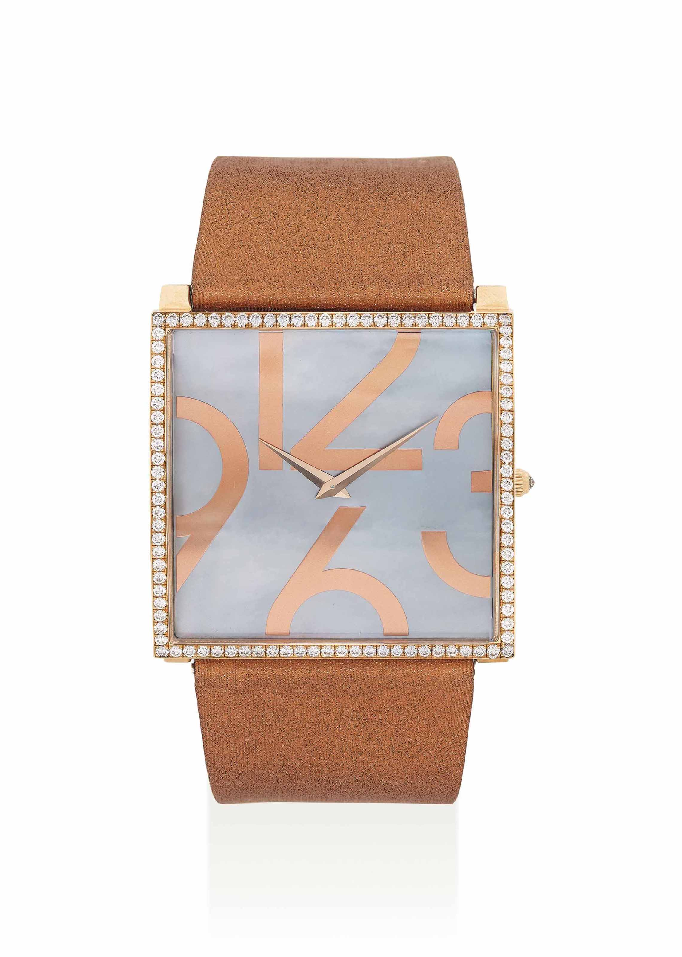 GUY ELLIA. AN 18K PINK GOLD AND DIAMOND-SET SQUARE WRISTWATCH WITH MOTHER-OF-PEARL DIAL