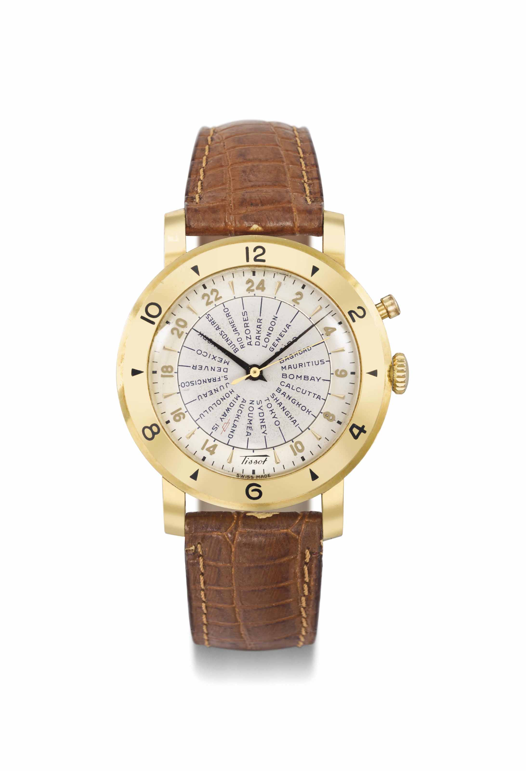 Tissot. An 18K gold automatic world time wristwatch with sweep centre seconds