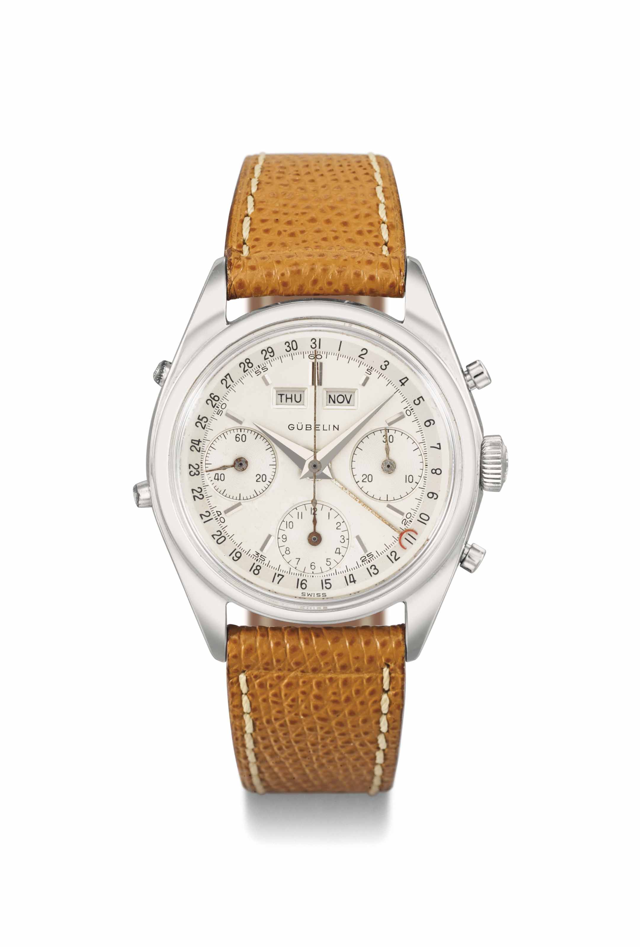 Gübelin. A fine and attractive stainless steel triple calendar chronograph wristwatch