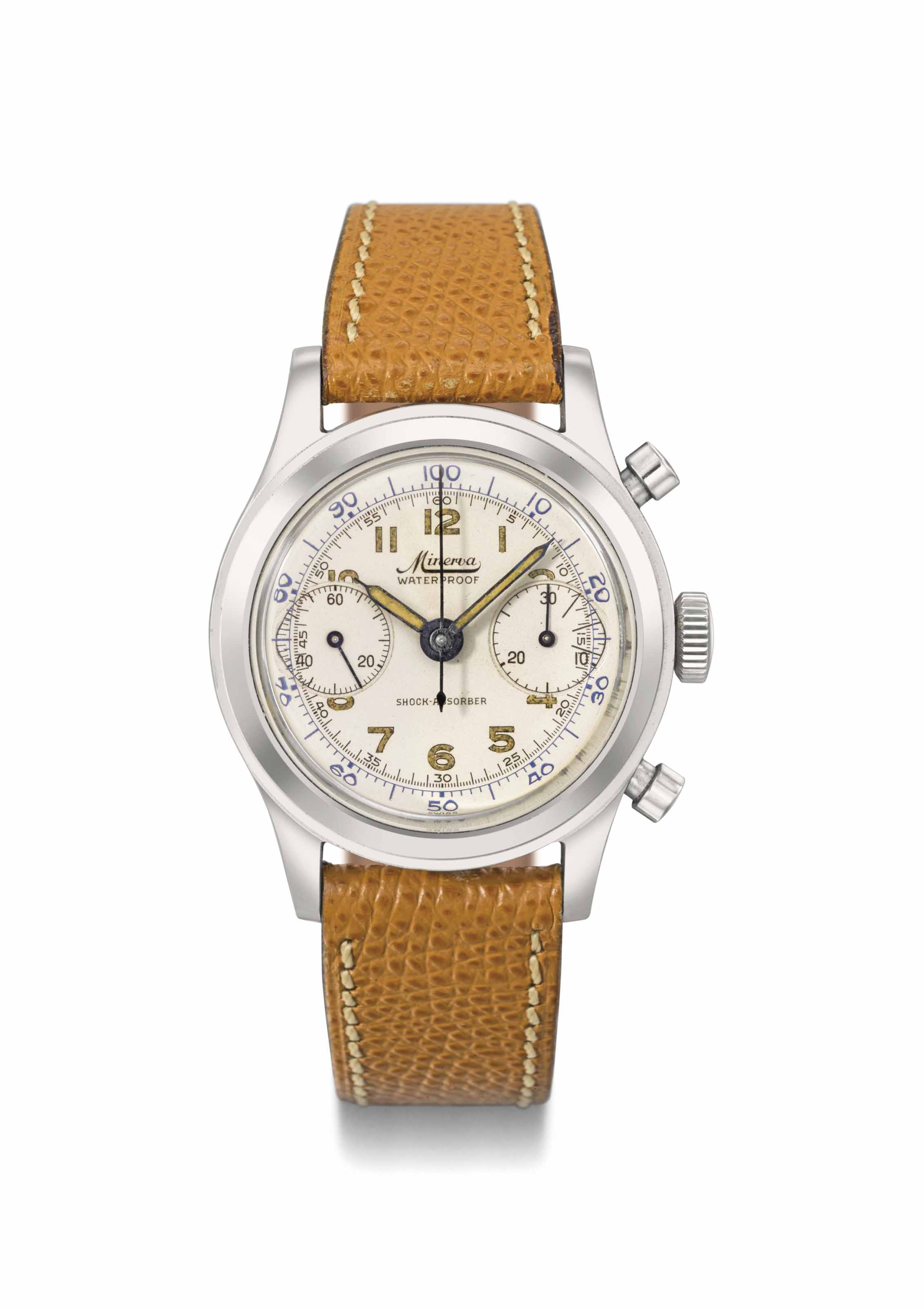 Minerva. A stainless steel chronograph wristwatch