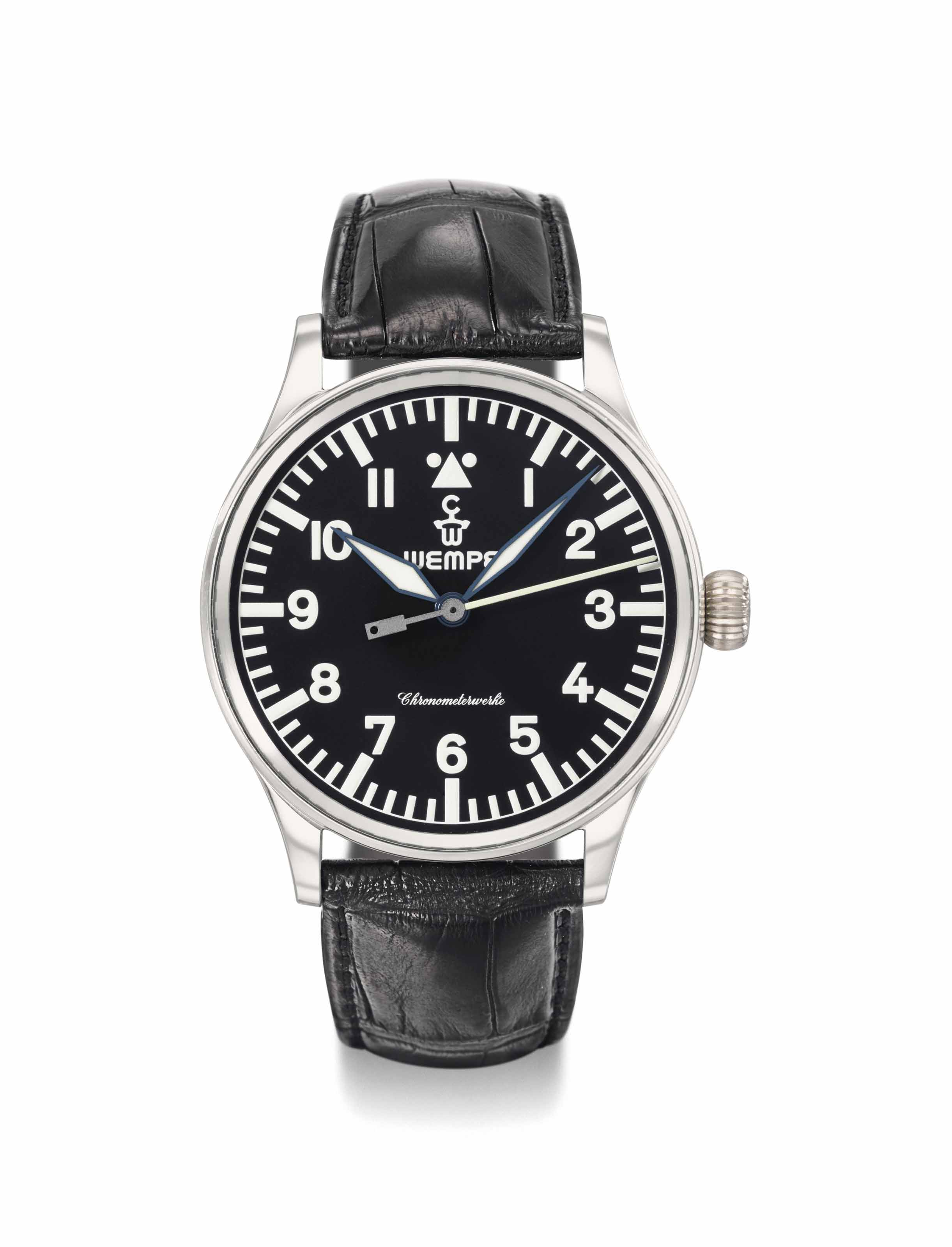 Wempe. A large and very rare platinum limited edition pilot's wristwatch with sweep centre seconds, hack feature, Guarantee and box