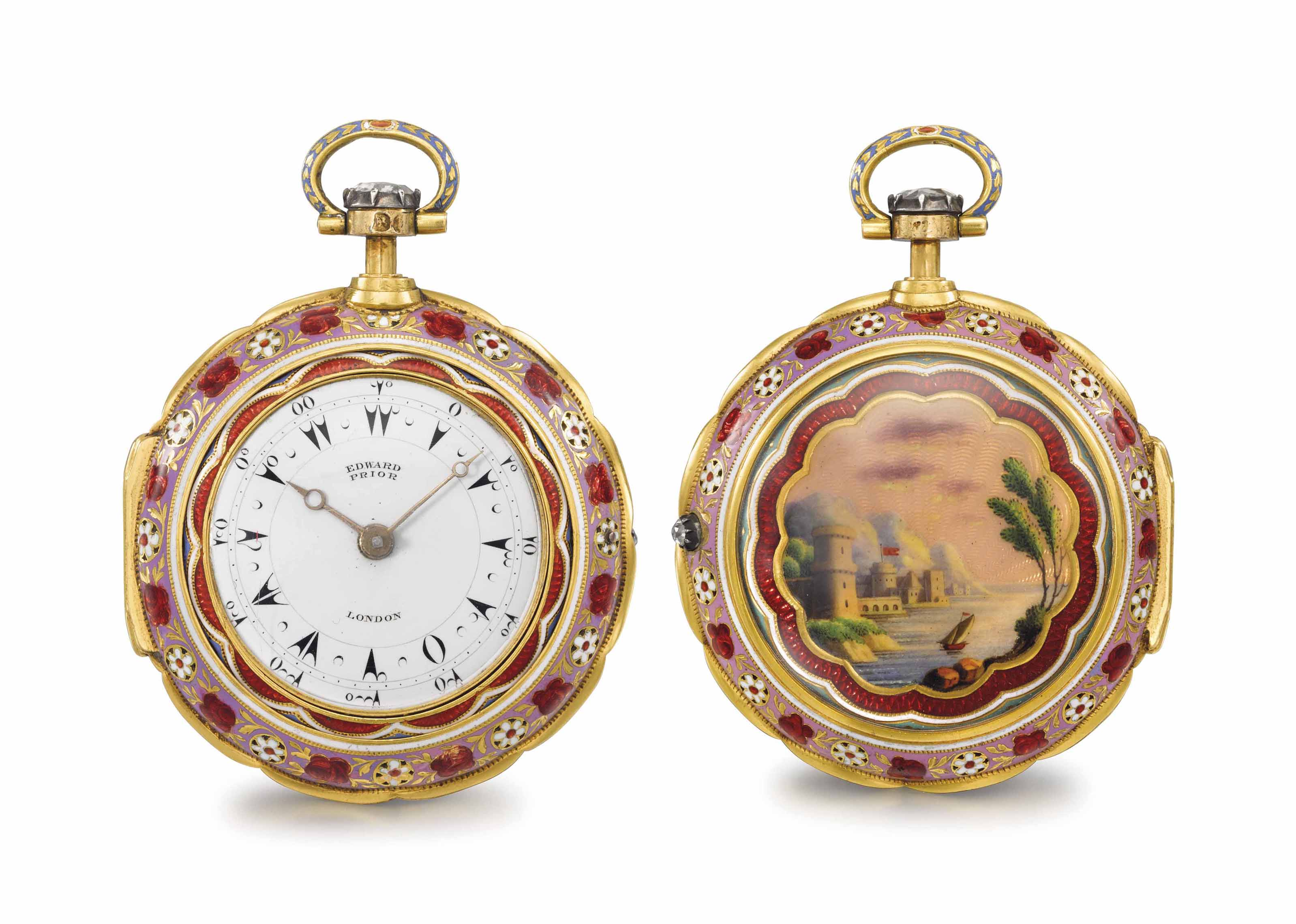 Edward Prior. A fine and rare 18K gold, diamond and enamel triple case quarter repeating keywound openface watch, made for the Turkish Market