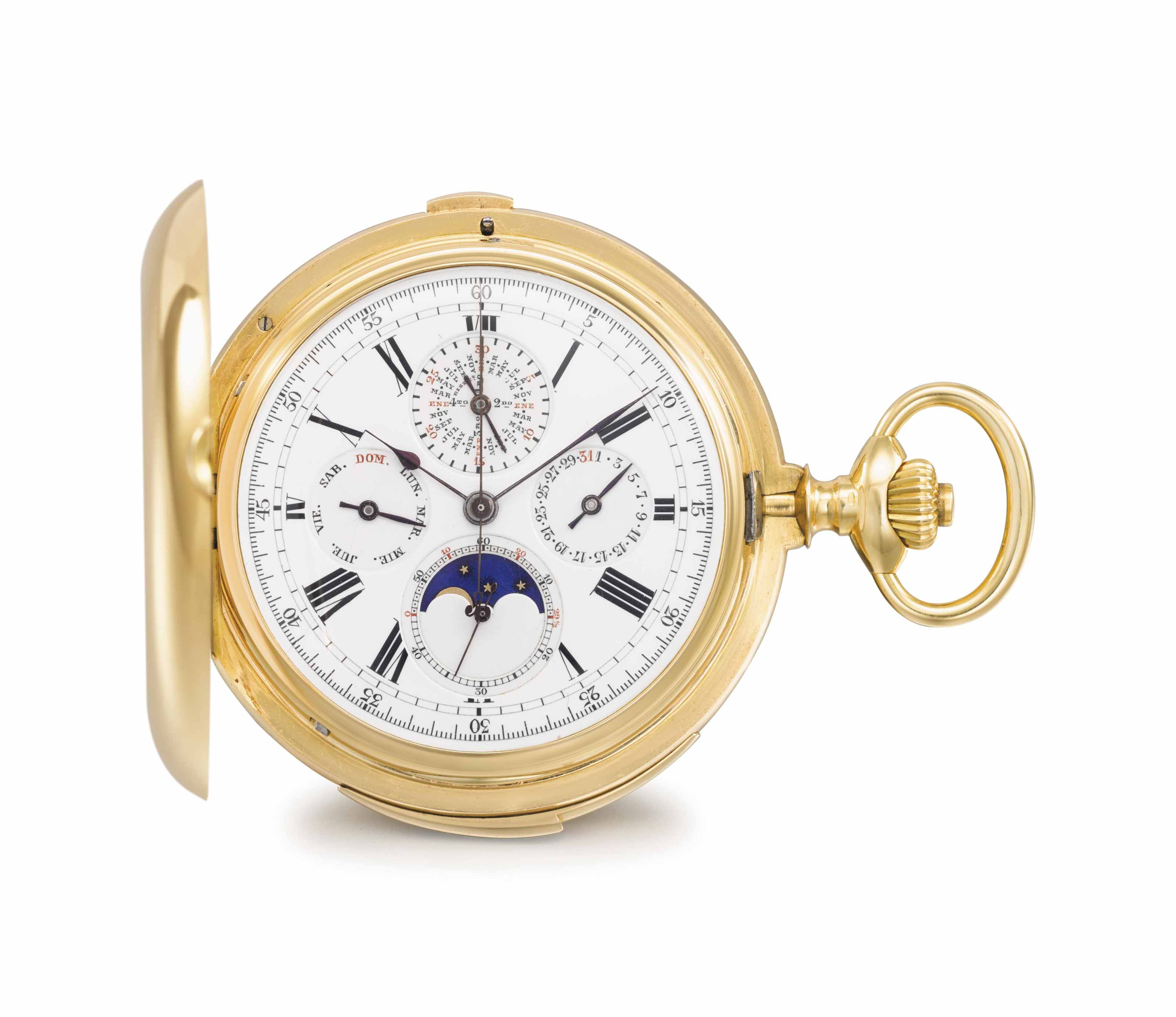 Louis Audemars. A fine and rare 18K gold hunter case minute repeating perpetual calendar keyless lever chronograph watch with moon phases