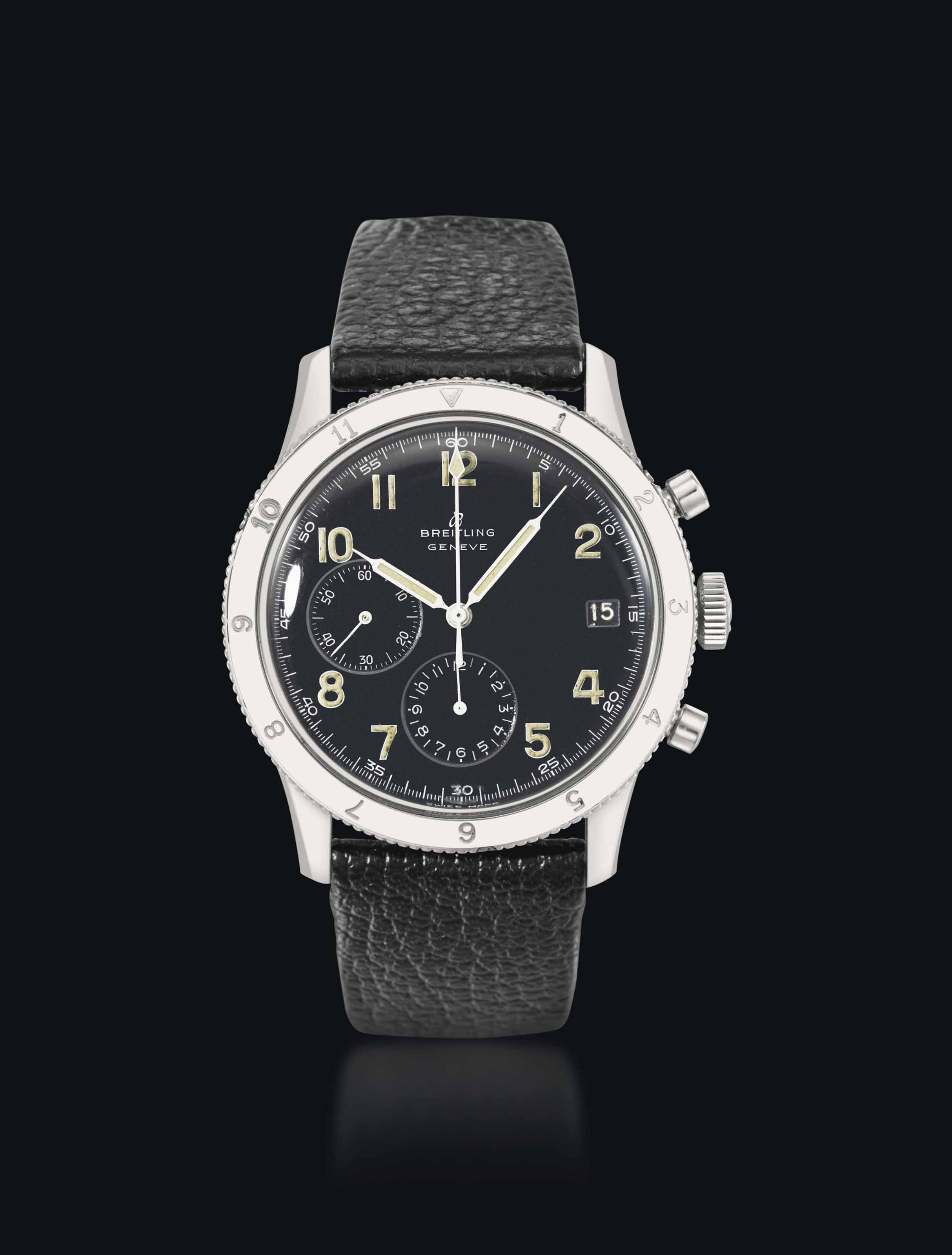 Breitling. A large, rare and unusual stainless steel chronograph wristwatch with digital minutes register and black dial