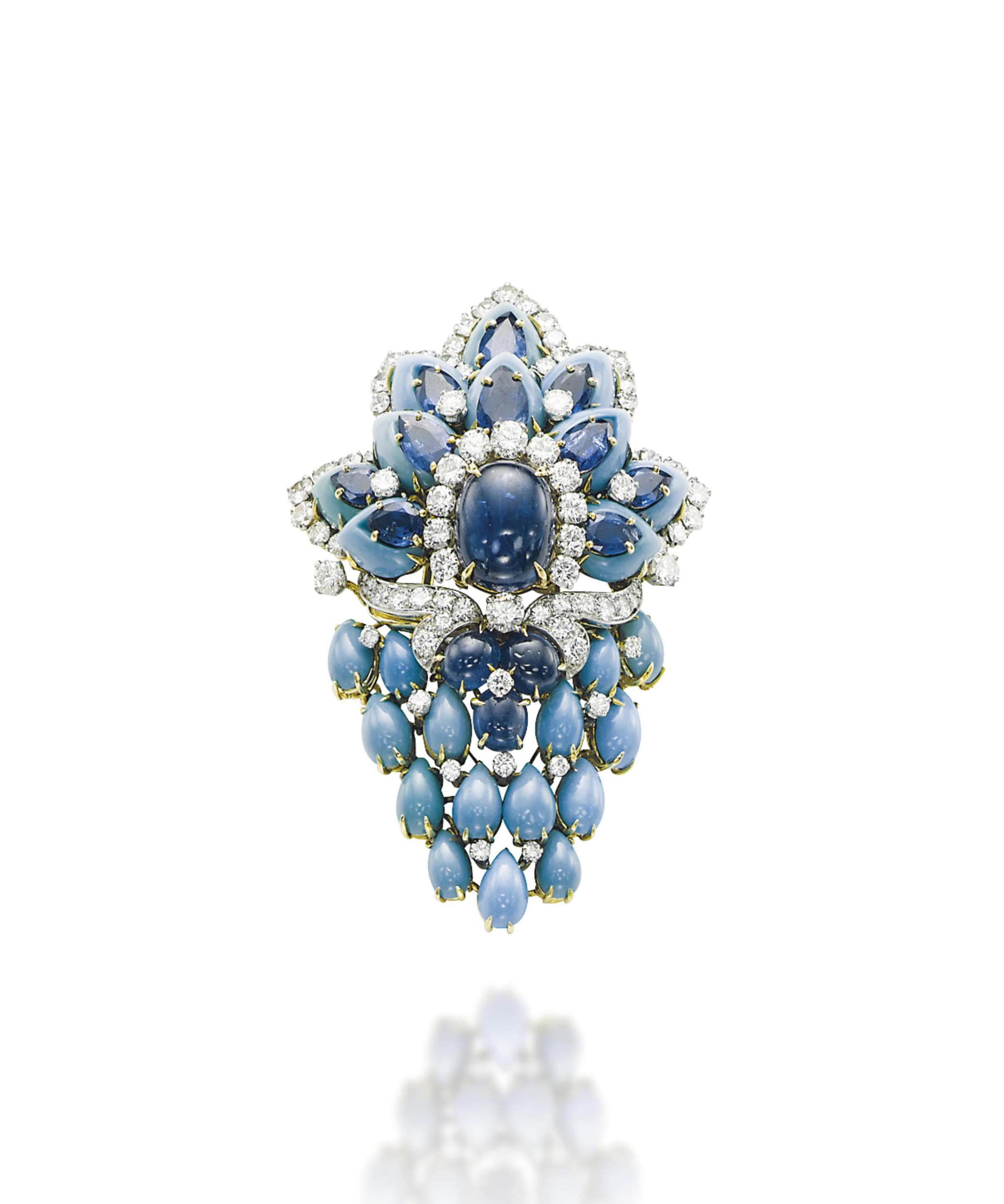 A TURQUOISE, SAPPHIRE AND DIAMOND BROOCH, BY CUSI