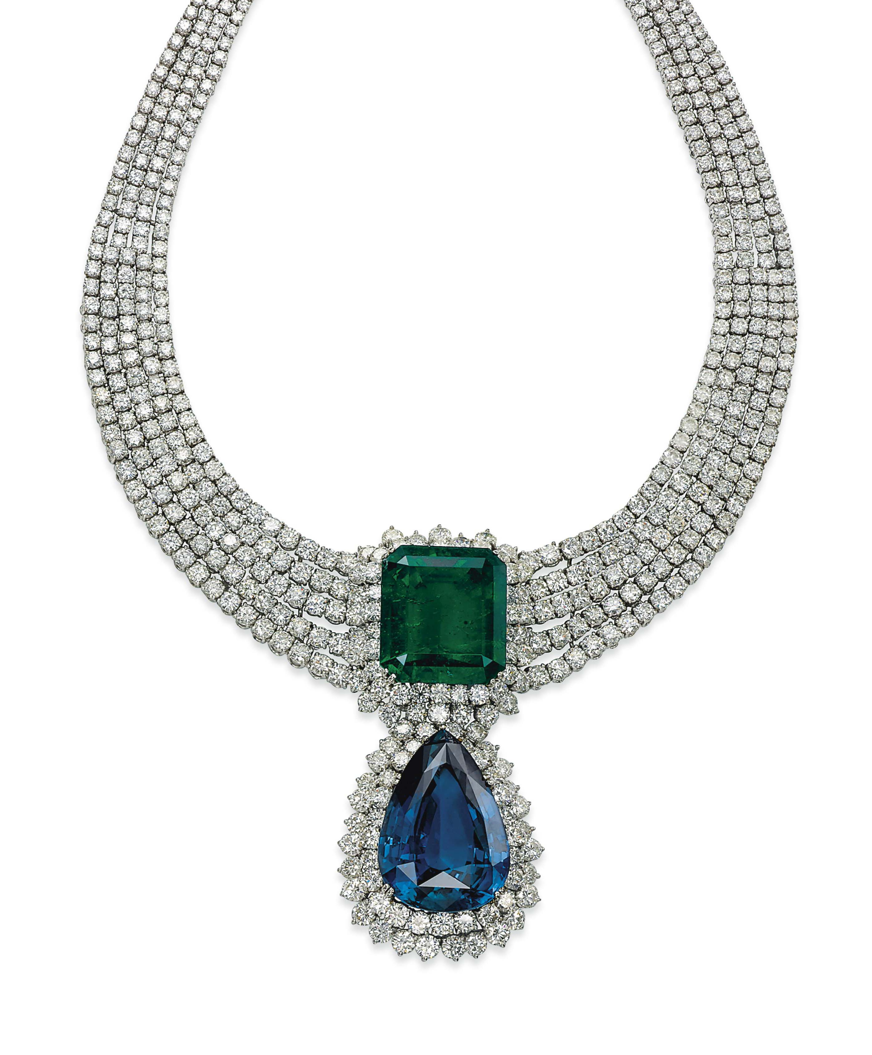 AN EMERALD, SAPPHIRE AND DIAMOND NECKLACE, BY JAHAN