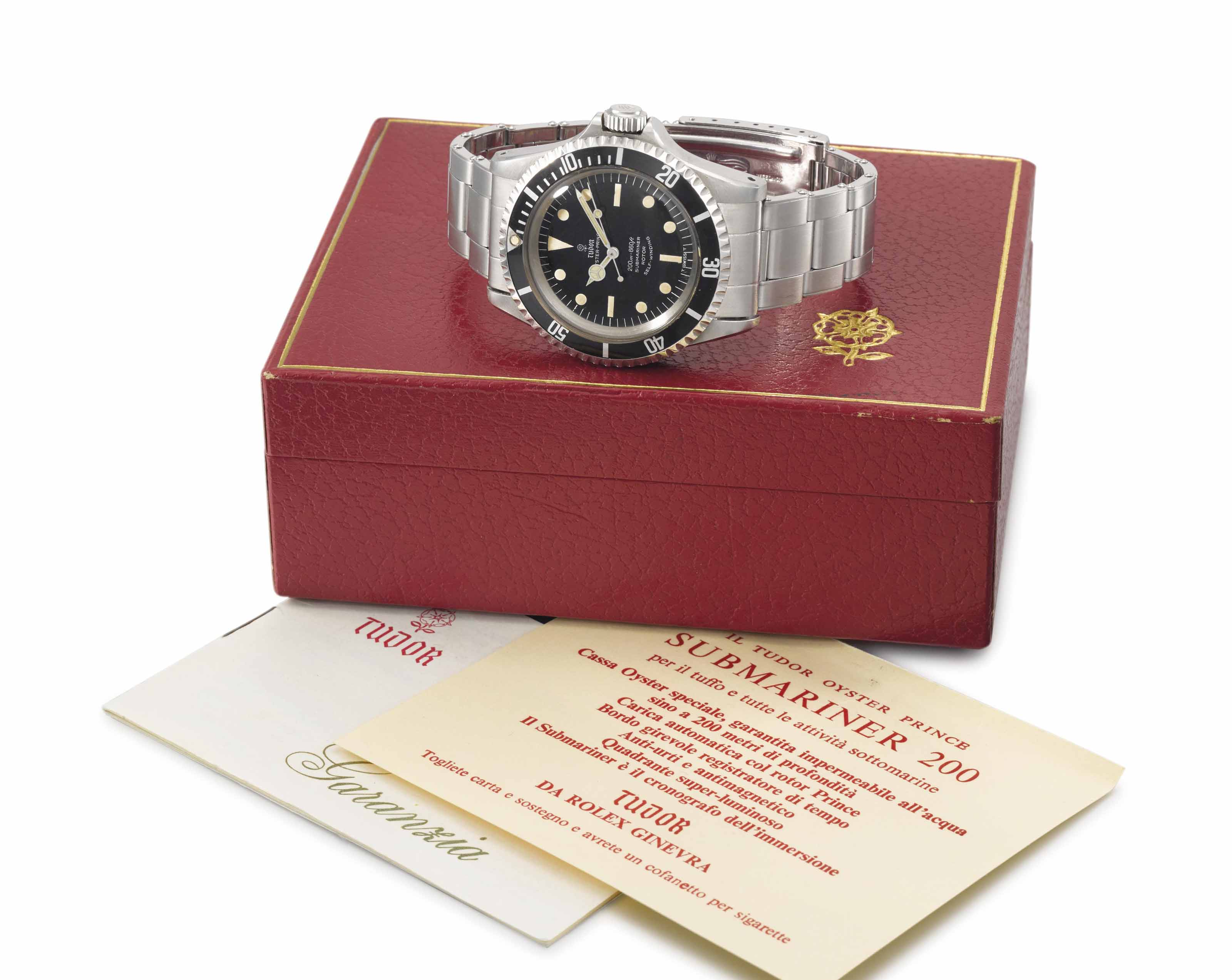 Tudor. An attractive stainless steel automatic wristwatch with sweep centre seconds, bracelet, Guarantee and box