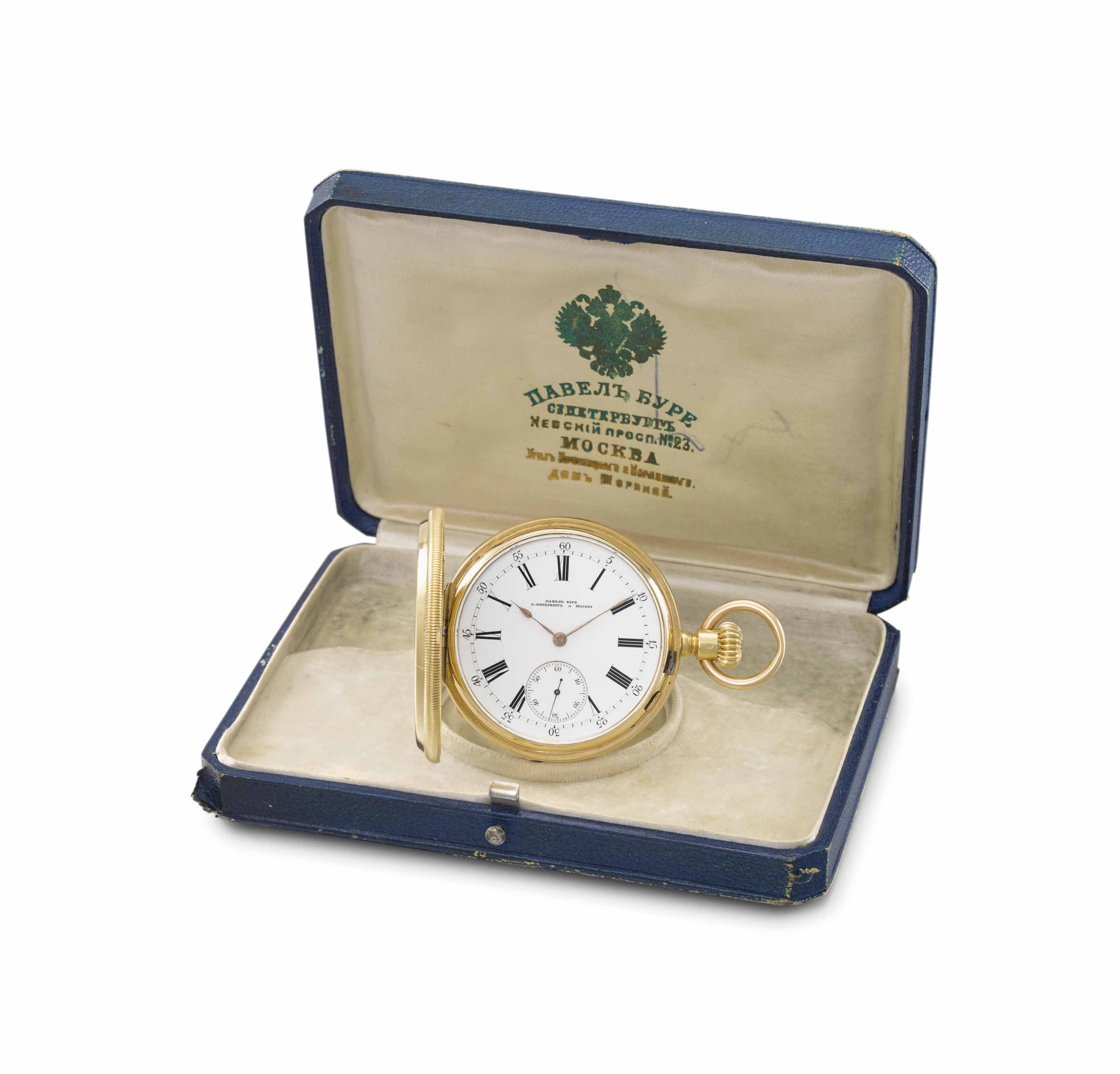 Paul Buhré. A very fine and rare 18K gold and enamel gold hunter case keyless lever imperial presentation watch with box, given by Tsar Alexander III to the opera singer Konstantin Serebryakov