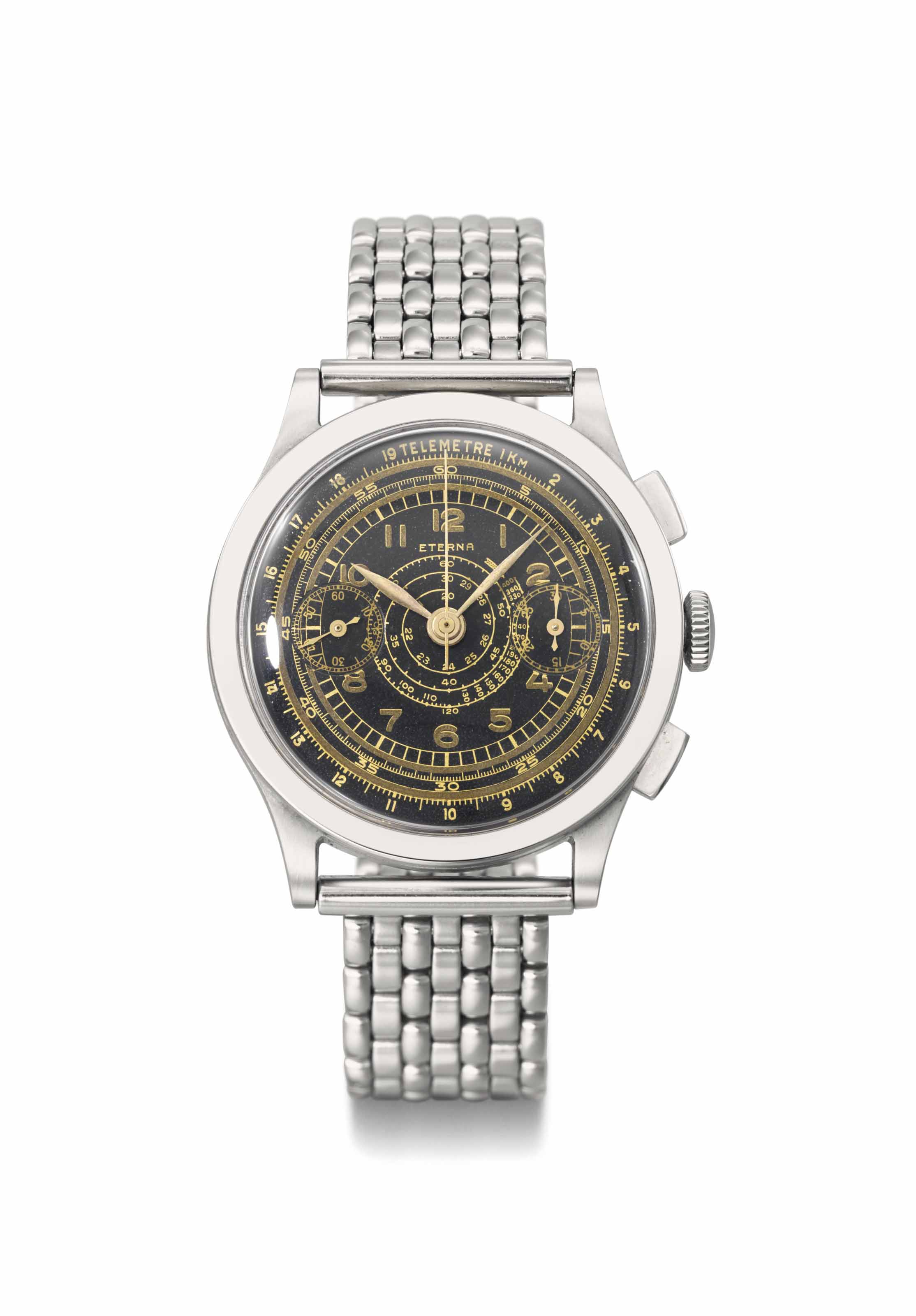 Eterna. An attractive and rare stainless steel chronograph wristwatch with black dial