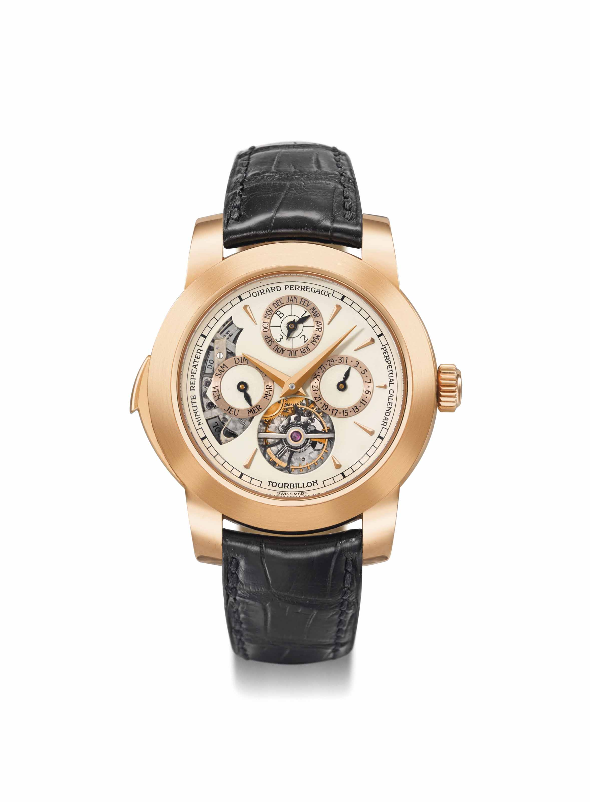 Girard-Perregaux. An extremely rare and important 18K pink gold perpetual calendar minute repeating three gold bridges tourbillon wristwatch with Westminster carillon chimes, leap year indicator, Certificate of Authenticity and wooden resonance box