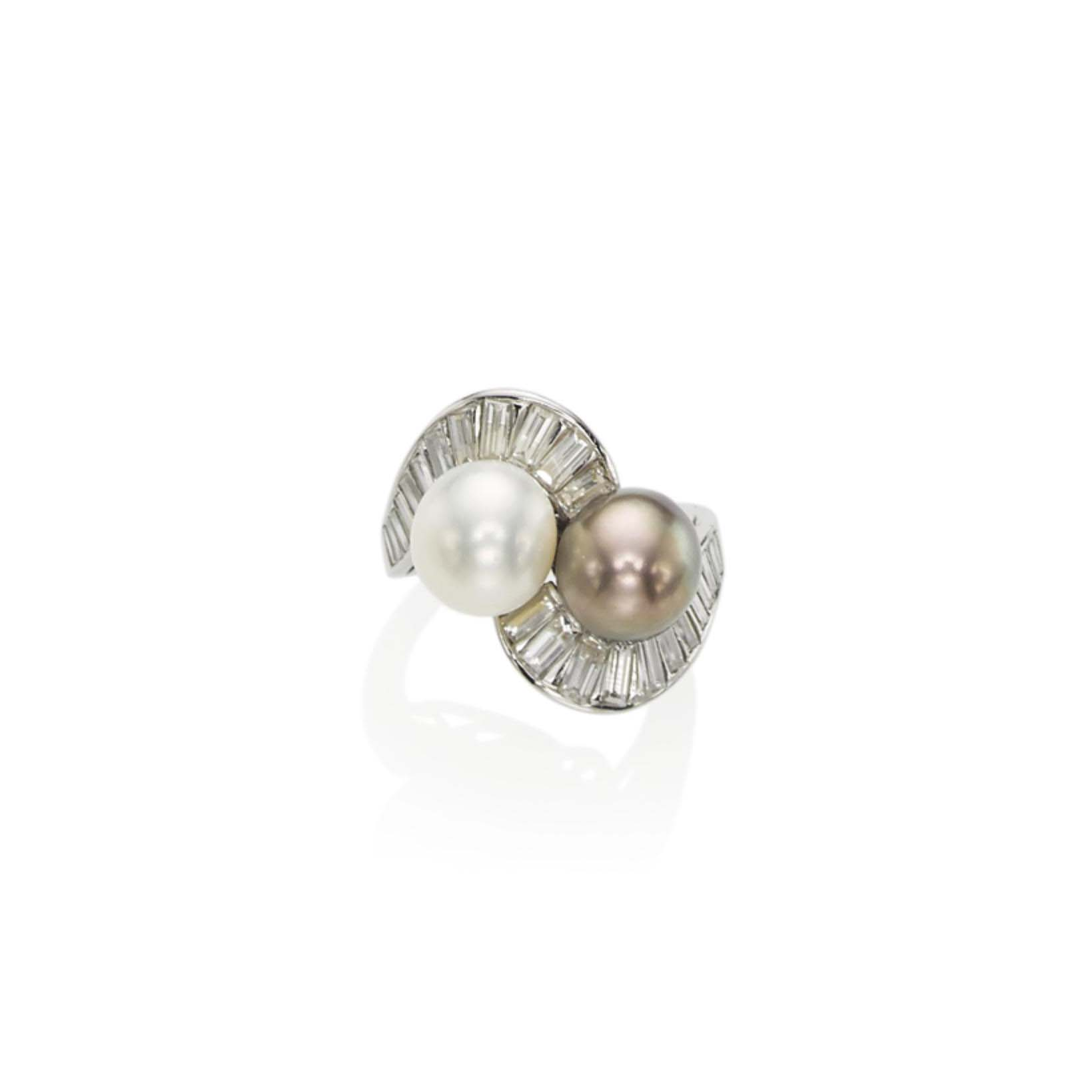 A NATURAL PEARL AND DIAMOND 'TOI ET MOI' RING, BY CUSI