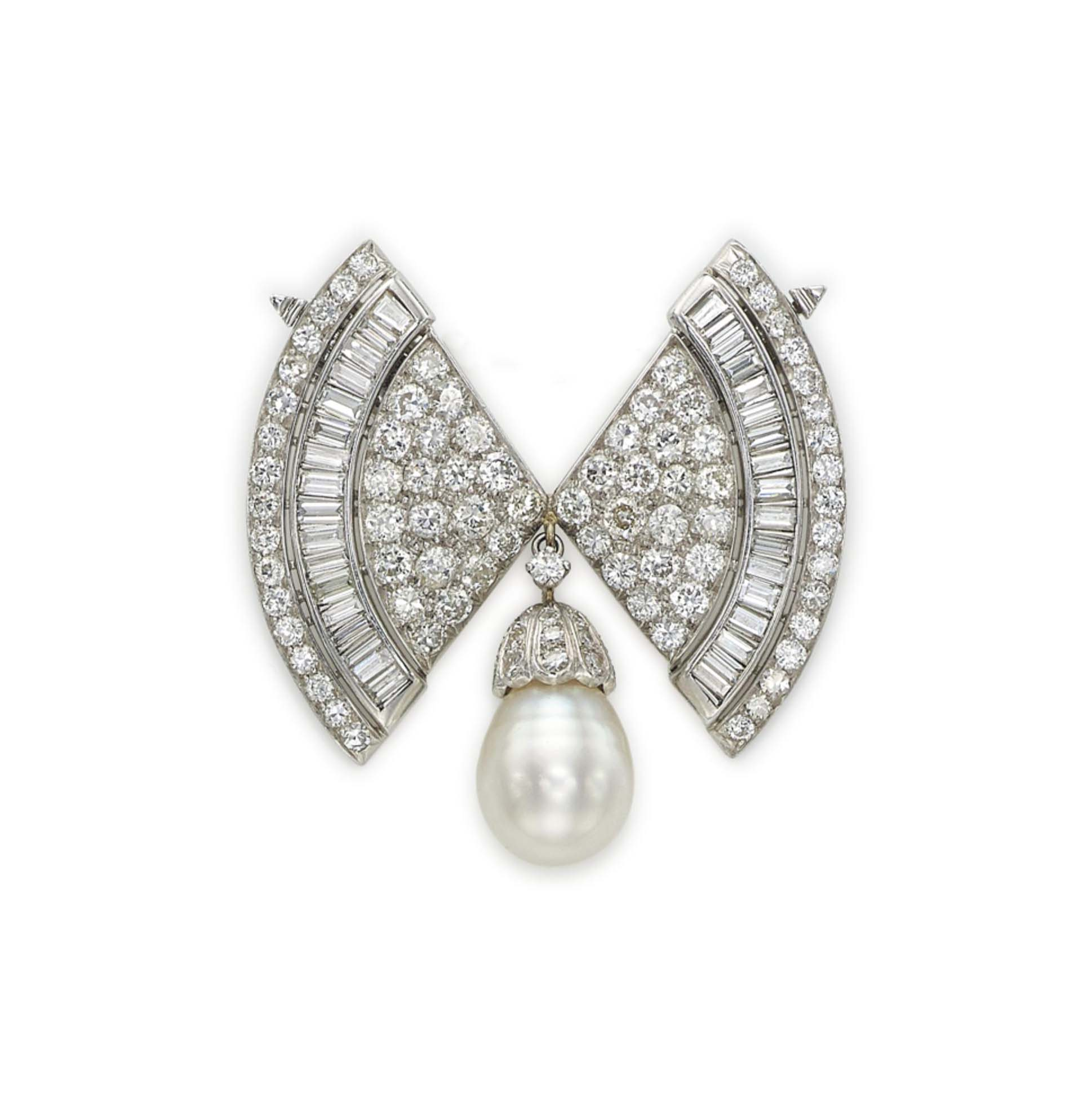 A DIAMOND AND CULTURED PEARL BROOCH, BY VOURAKIS