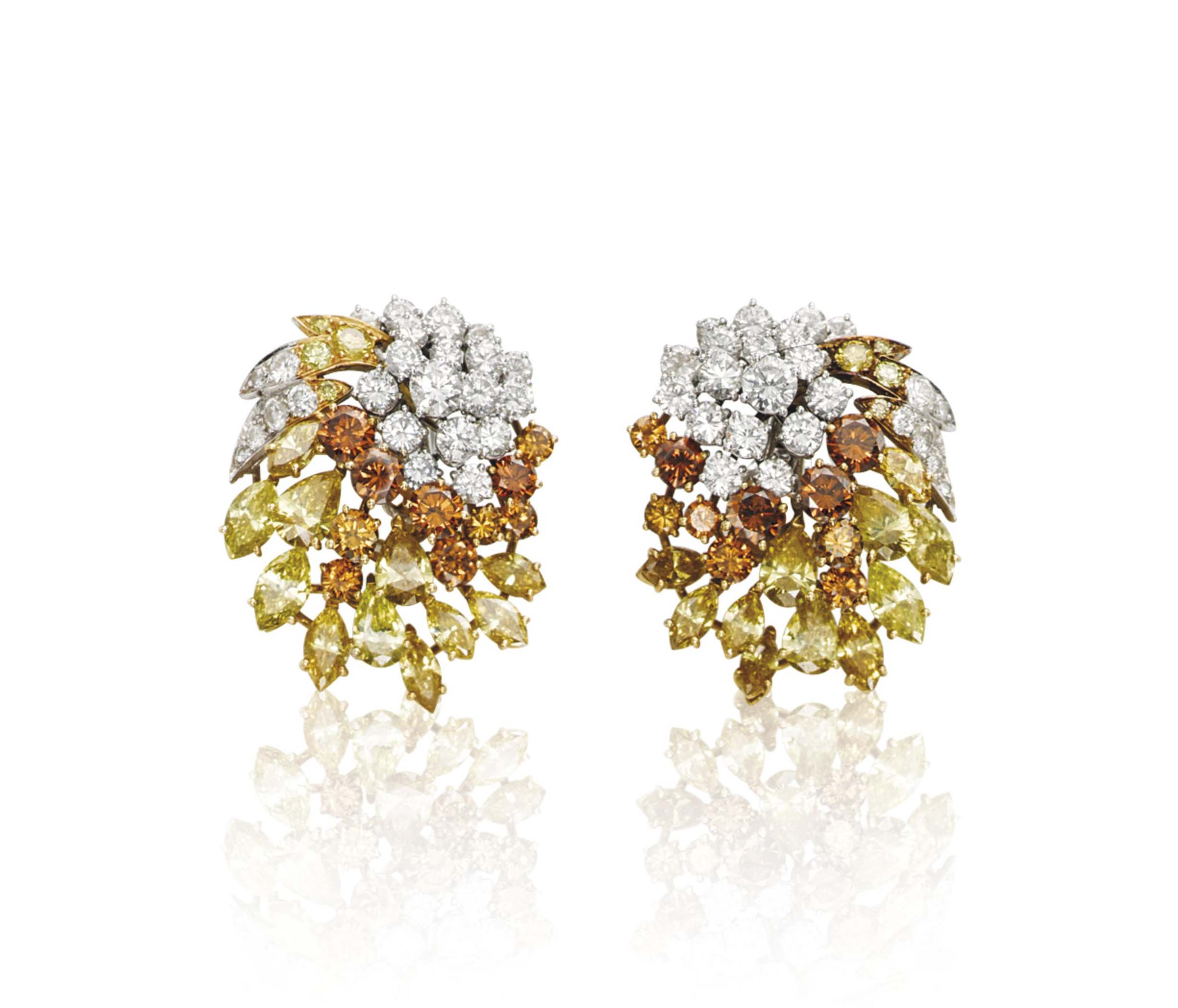 A PAIR OF DIAMOND AND COLOURED DIAMOND EARRINGS, BY MASSONI