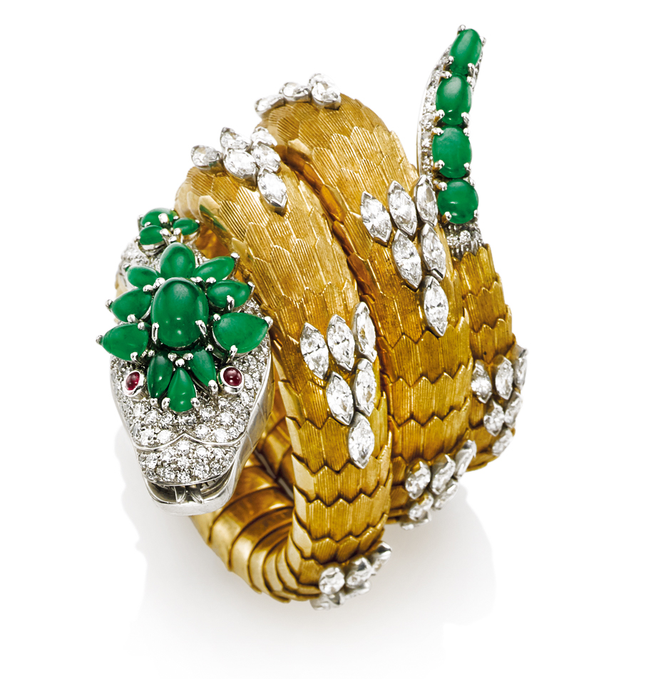 A JADEITE, RUBY AND DIAMOND 'SERPENTI' WATCH-BRACELET, BY BULGARI