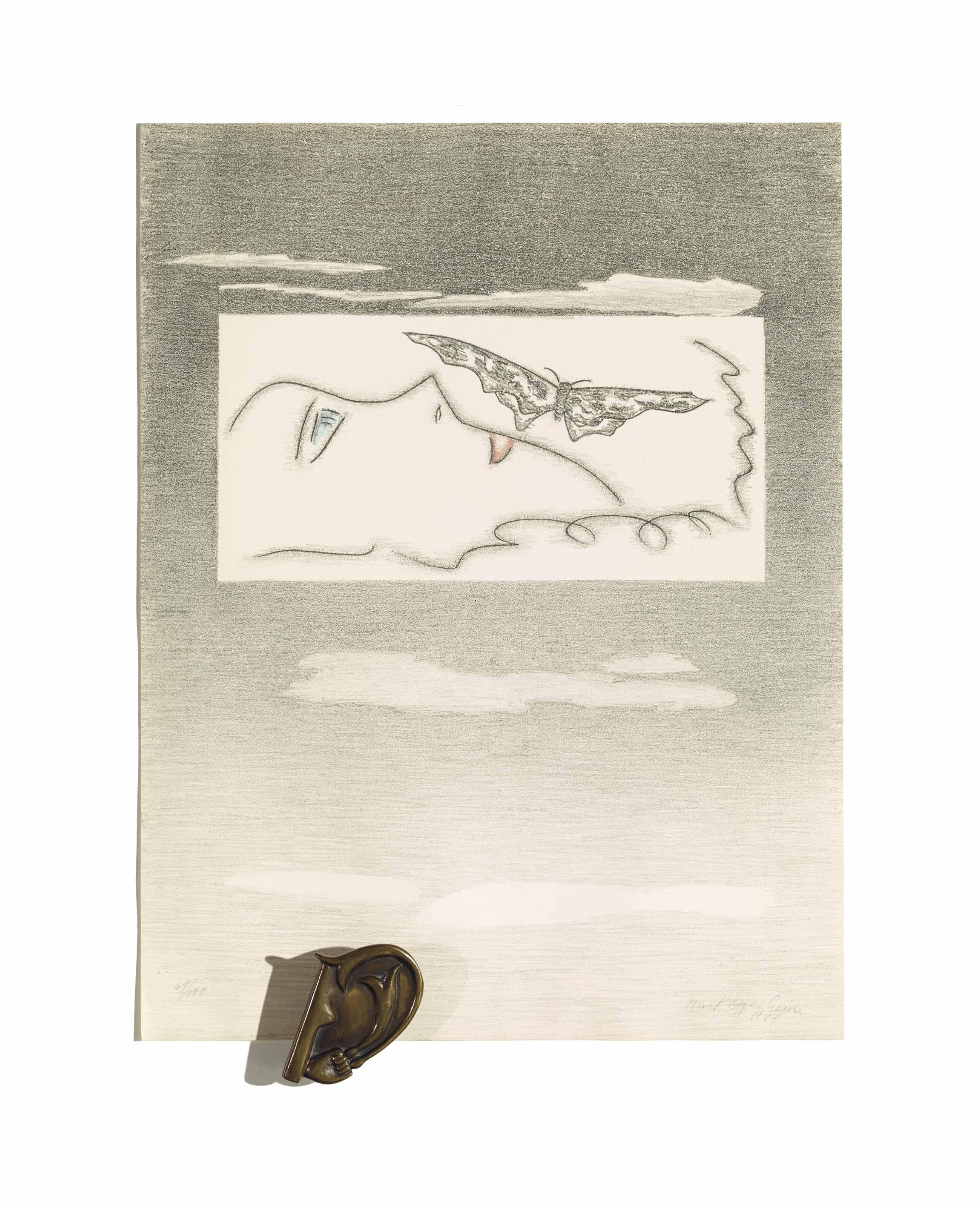 Liegendes Profil mit Schmetterling, 1977  Das Ohr von Giacometti, 1933-1977