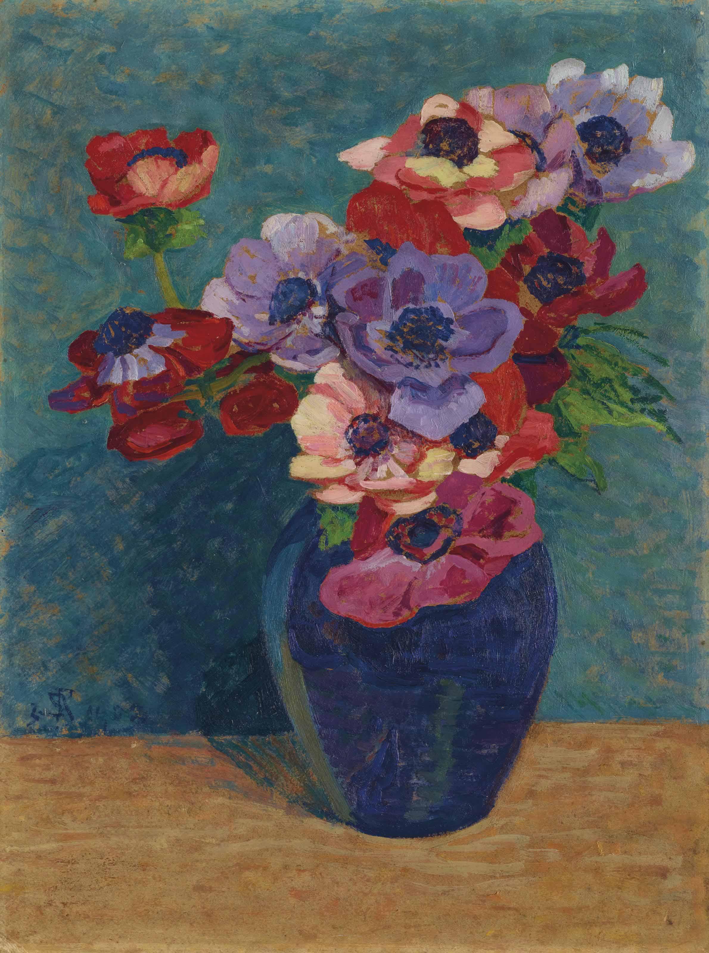 Anemonen in blauer Vase, 1903
