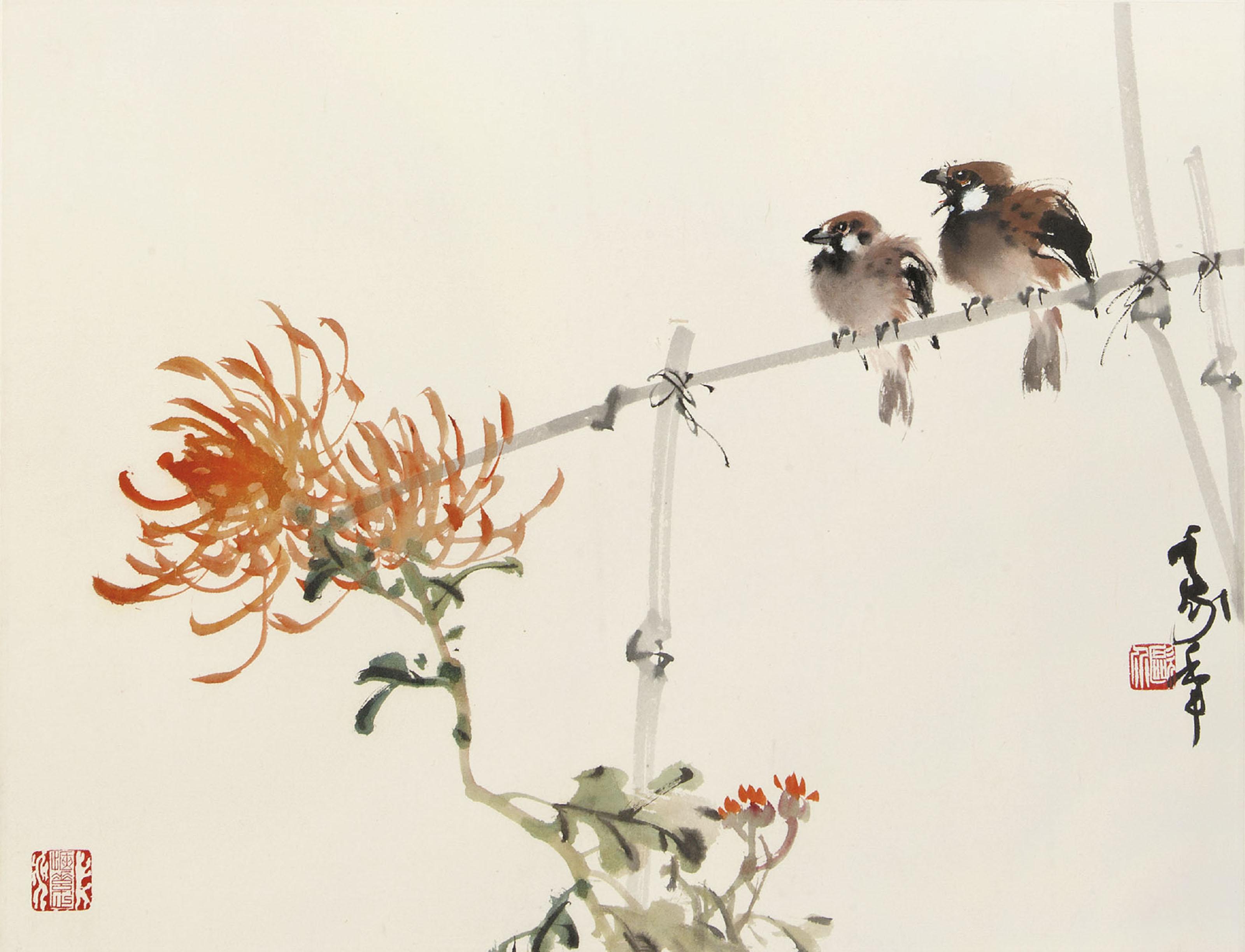 Birds and Chrysanthemum
