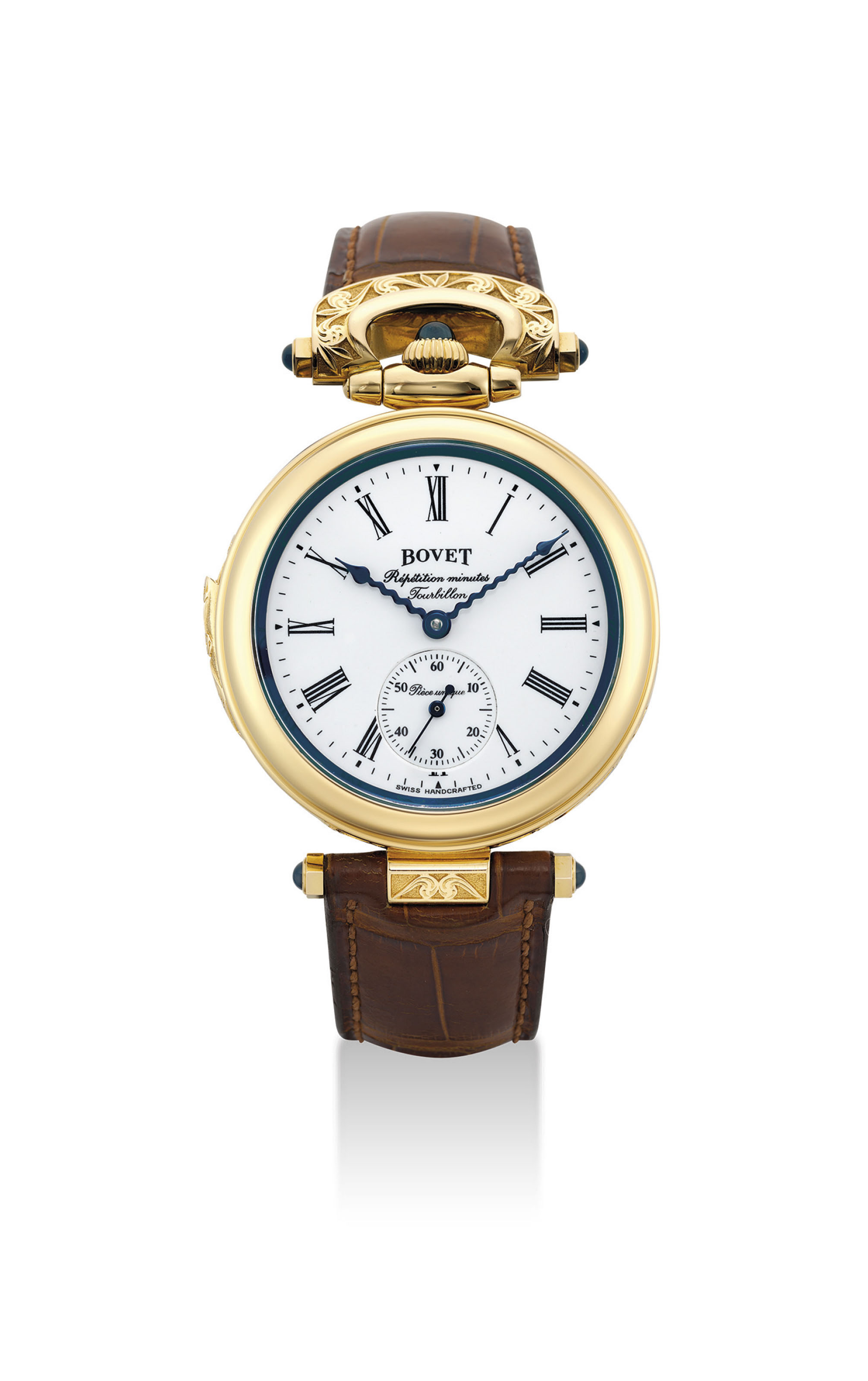 BOVET. A UNIQUE AND VERY FINE 18K PINK GOLD MINUTE REPEATING TOURBILLON WRISTWATCH WITH ENAMEL DIAL