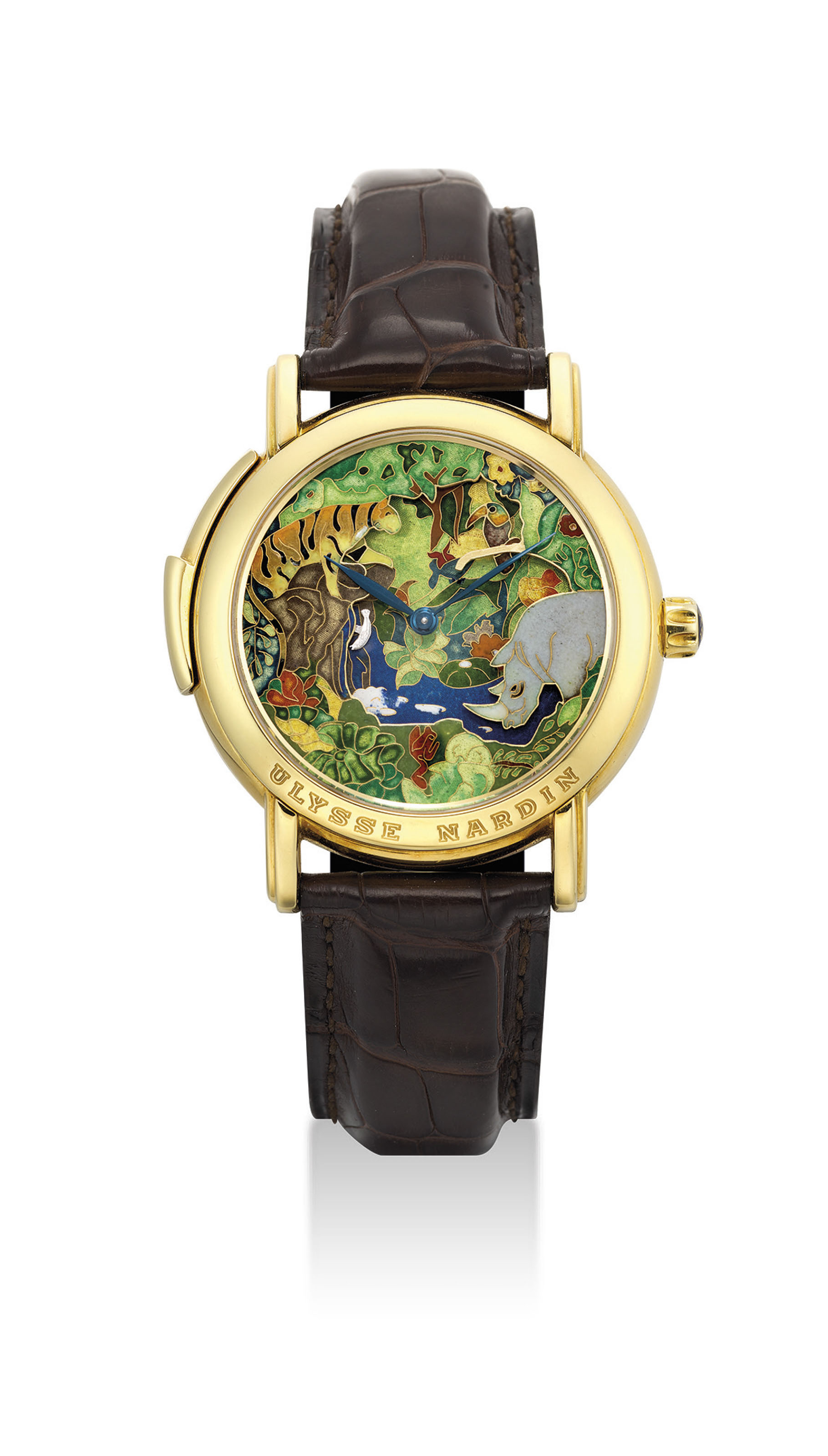ULYSSE NARDIN. A VERY FINE AND RARE 18K GOLD LIMITED EDITION MINUTE REPEATING WRISTWATCH WITH THREE AUTOMATON JACQUEMARTS SCENE AND CLOISONNÉ ENAMEL DIAL