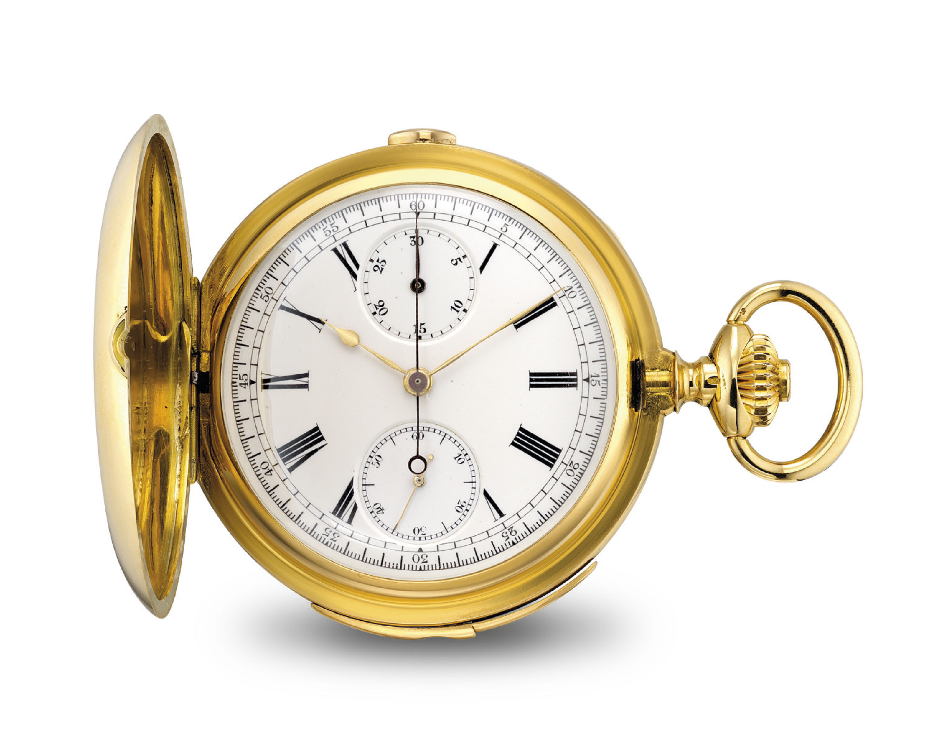 UTI. AN 18K GOLD HUNTER CASE MINUTE REPEATING CHRONOGRAPH KEYLESS LEVER WATCH