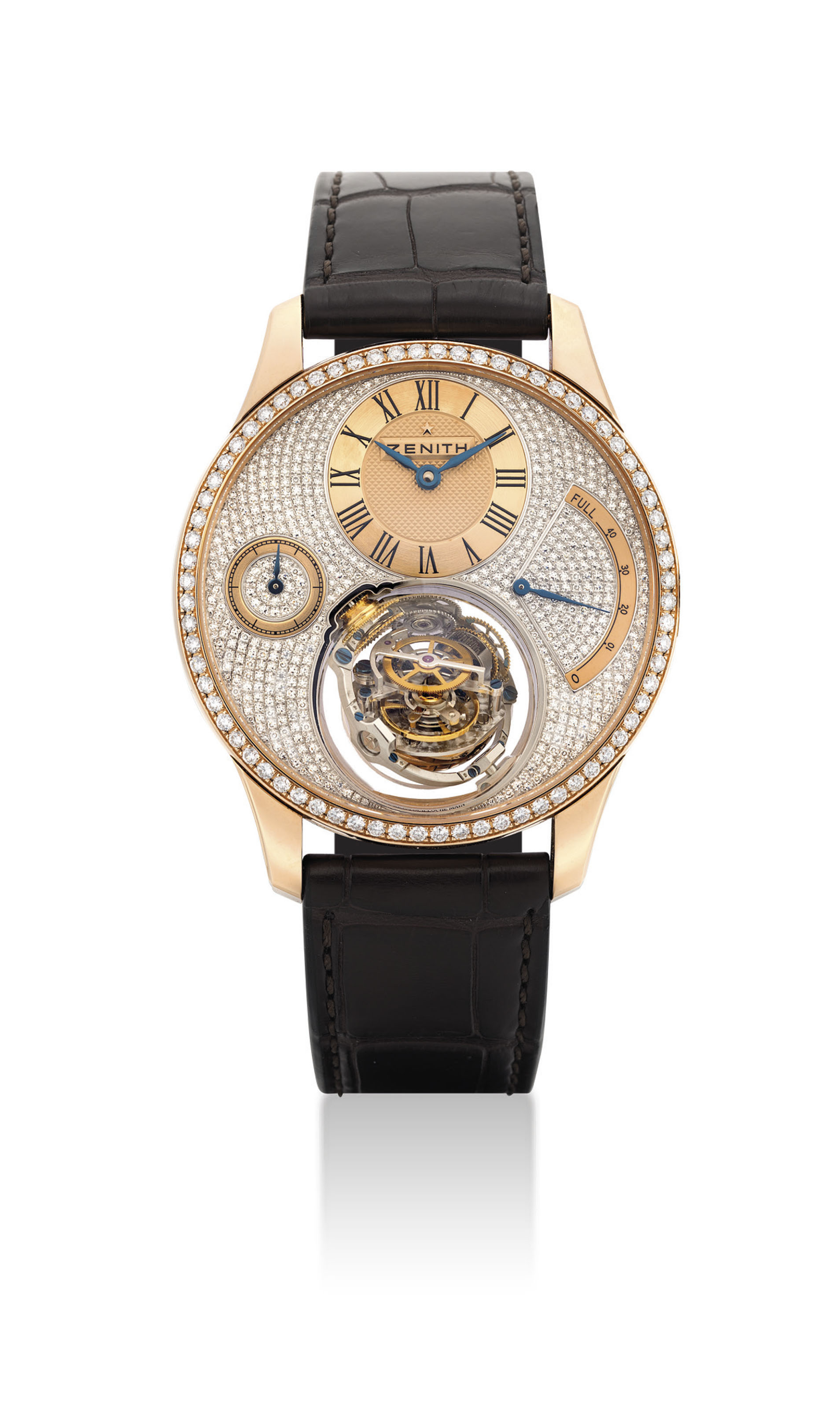ZENITH. A FINE AND EXTREMELY RARE 18K PINK GOLD AND DIAMOND-SET LIMITED EDITION WRISTWATCH WITH POWER RESERVE AND SELF-REGULATING GRAVITY CONTROL GYROSCOPIC MODULE