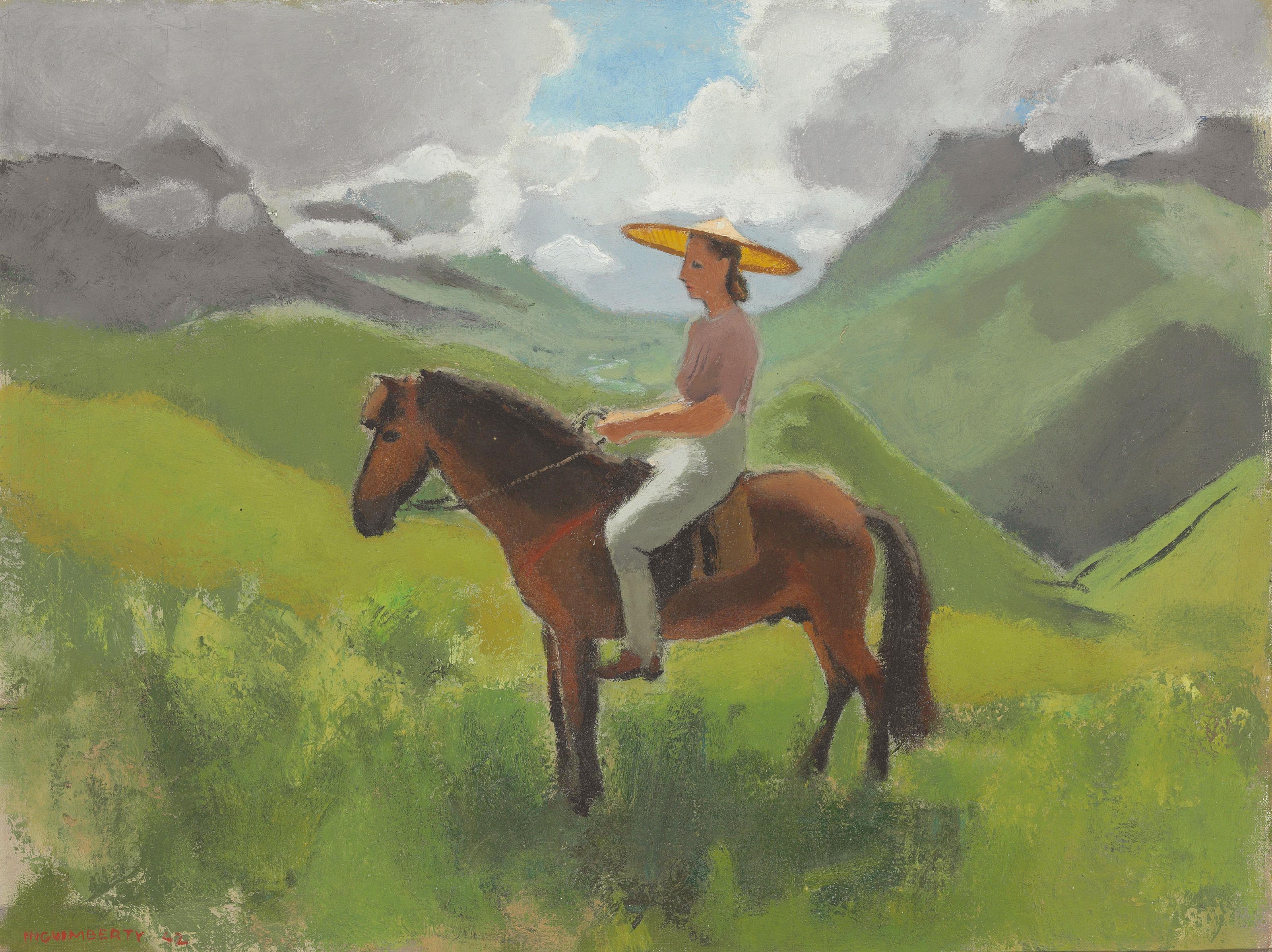 Portrait of Alix Ayme on Horseback