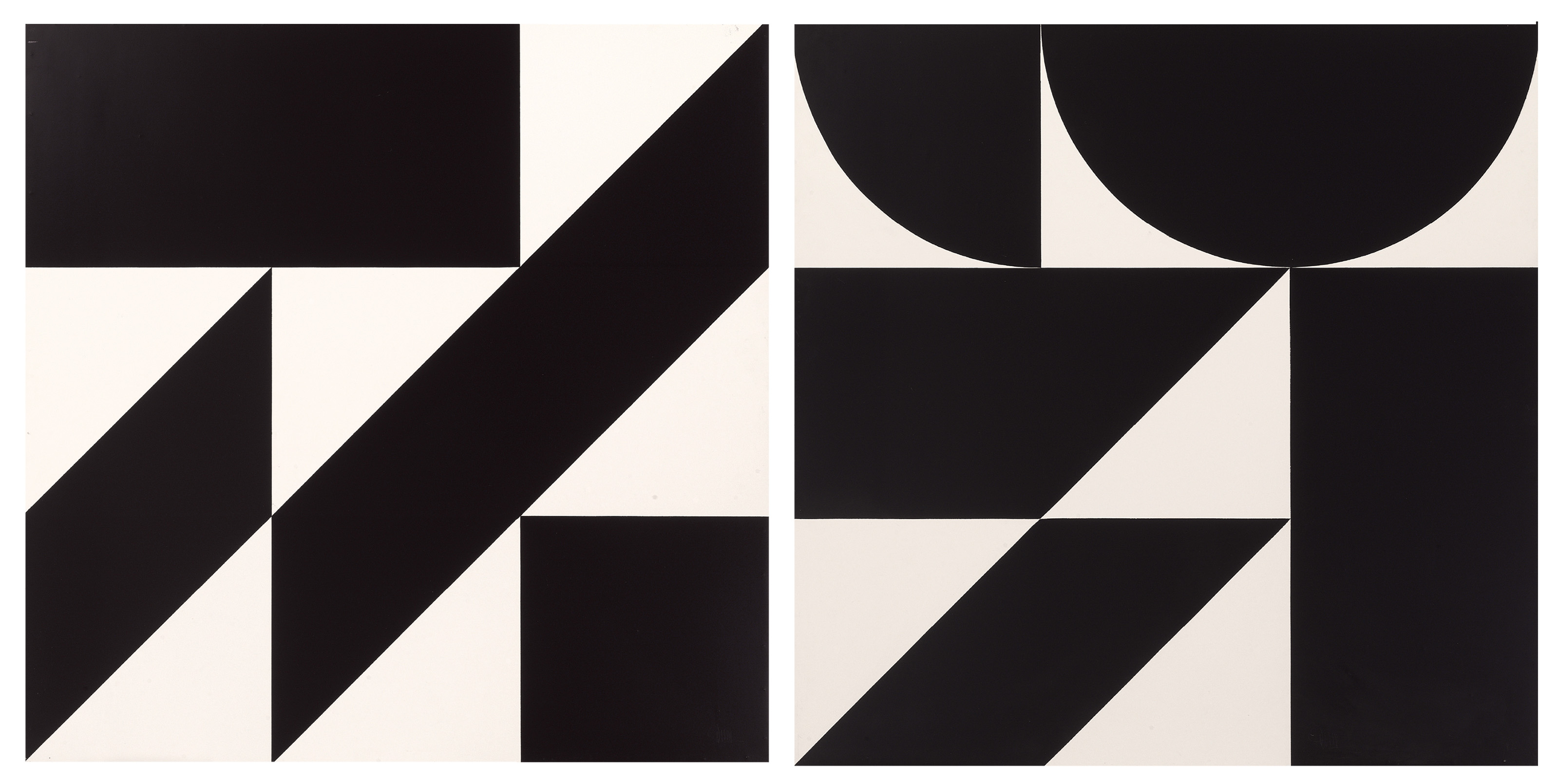 Black Forms On White Space