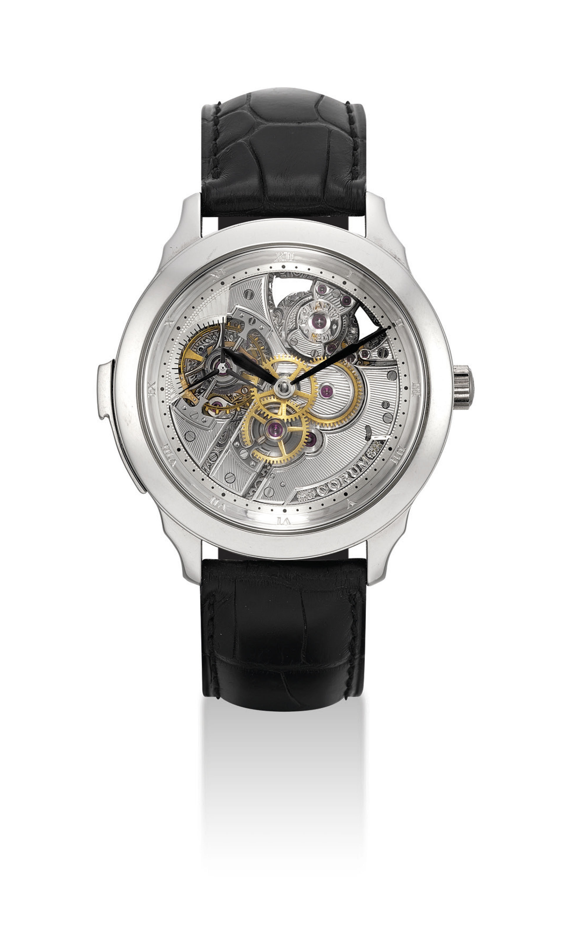 CORUM. A FINE AND EXTREMELY RARE PLATINUM LIMITED EDITION SEMI-SKELETONISED MINUTE REPEATING WRISTWATCH WITH ONE MINUTE TOURBILLON MADE BY CHRISTOPHE CLARET