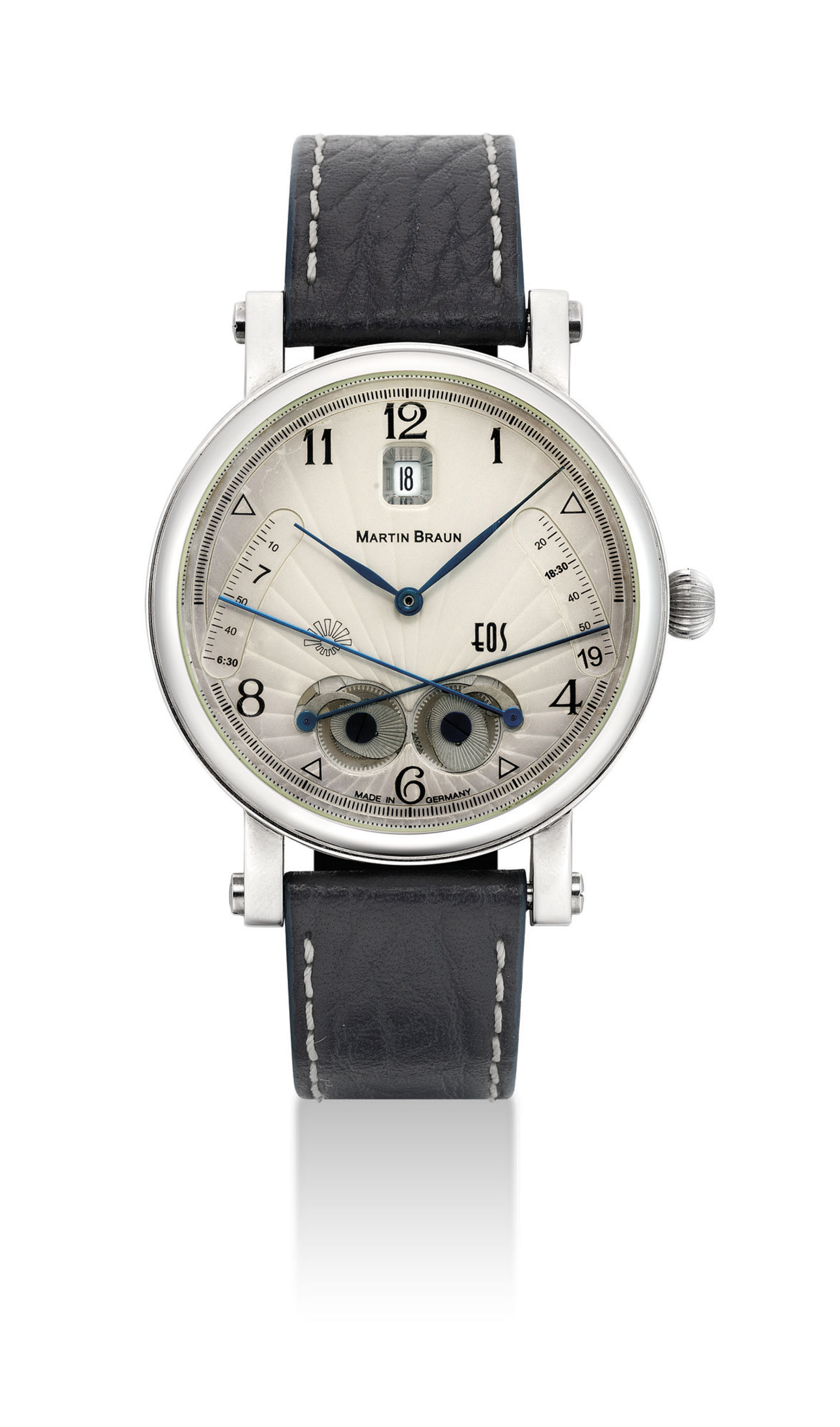 MARTIN BRAUN. A STAINLESS STEEL AUTOMATIC WRISTWATCH WITH DATE AND SUNRISE AND SUNSET INDICATORS