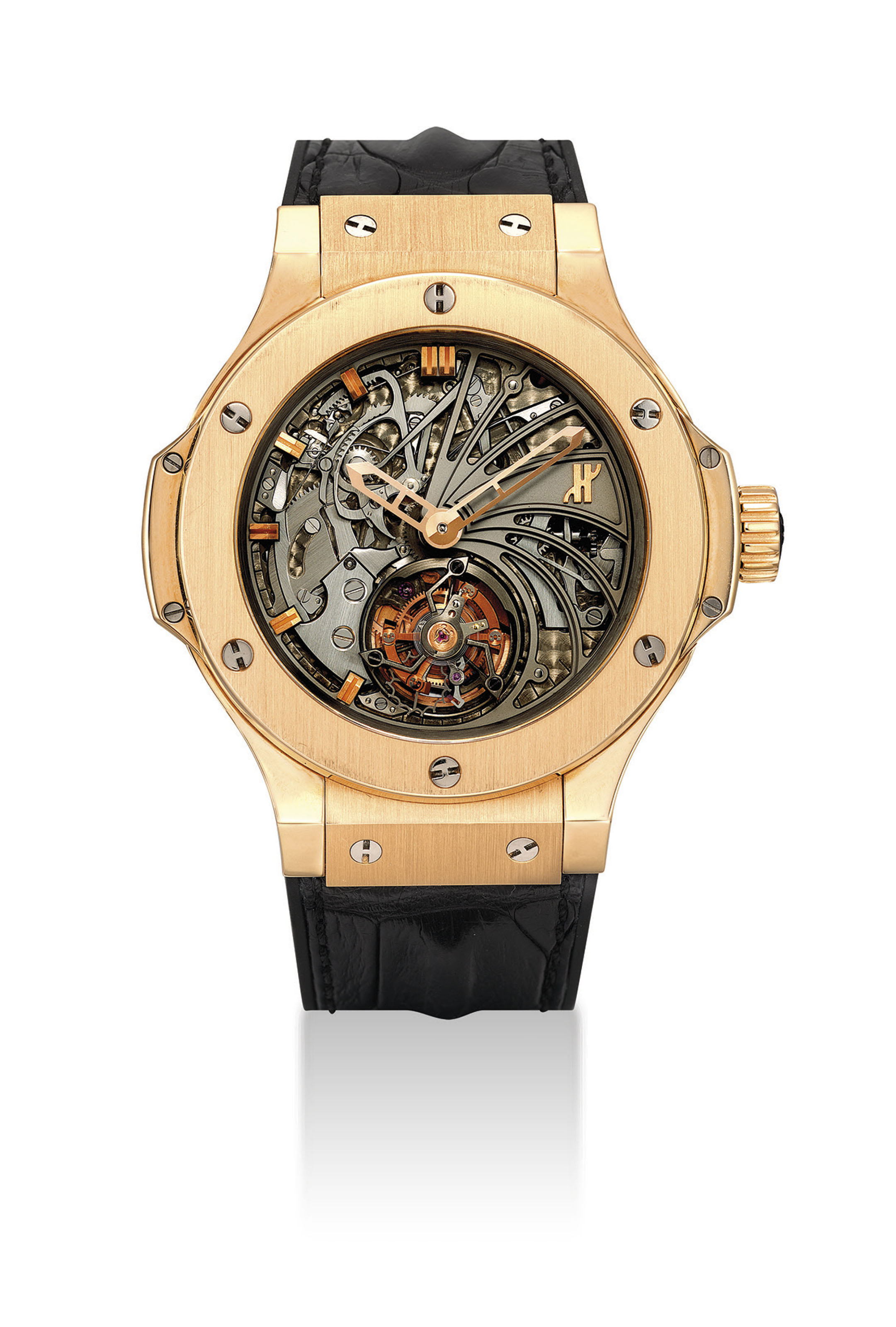 HUBLOT. A FINE AND EXTREMELY RARE 18K PINK GOLD LIMITED EDITION SEMI-SKELETONISED MINUTE REPEATING TOURBILLON WRISTWATCH