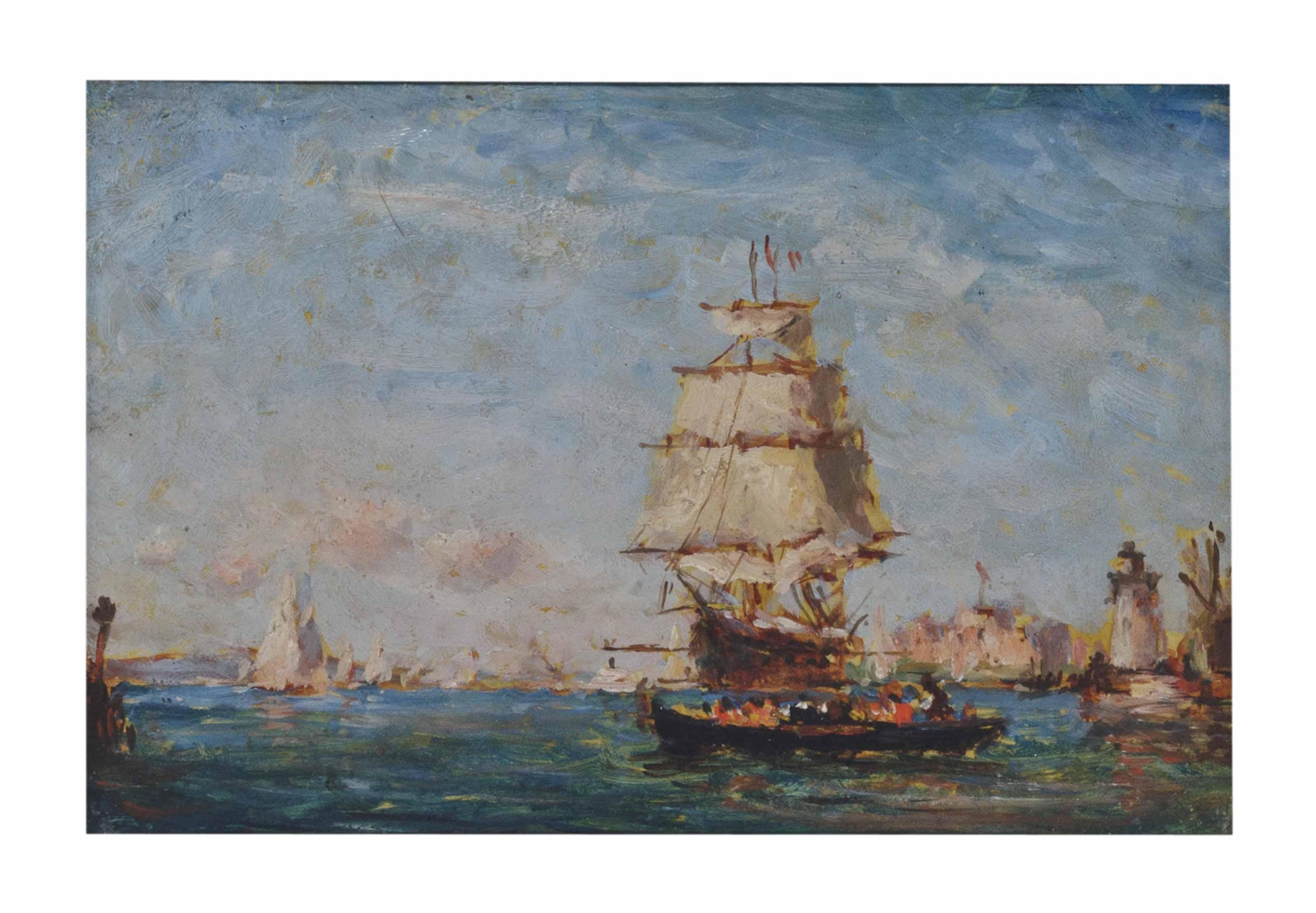 Clipper Ship in Port