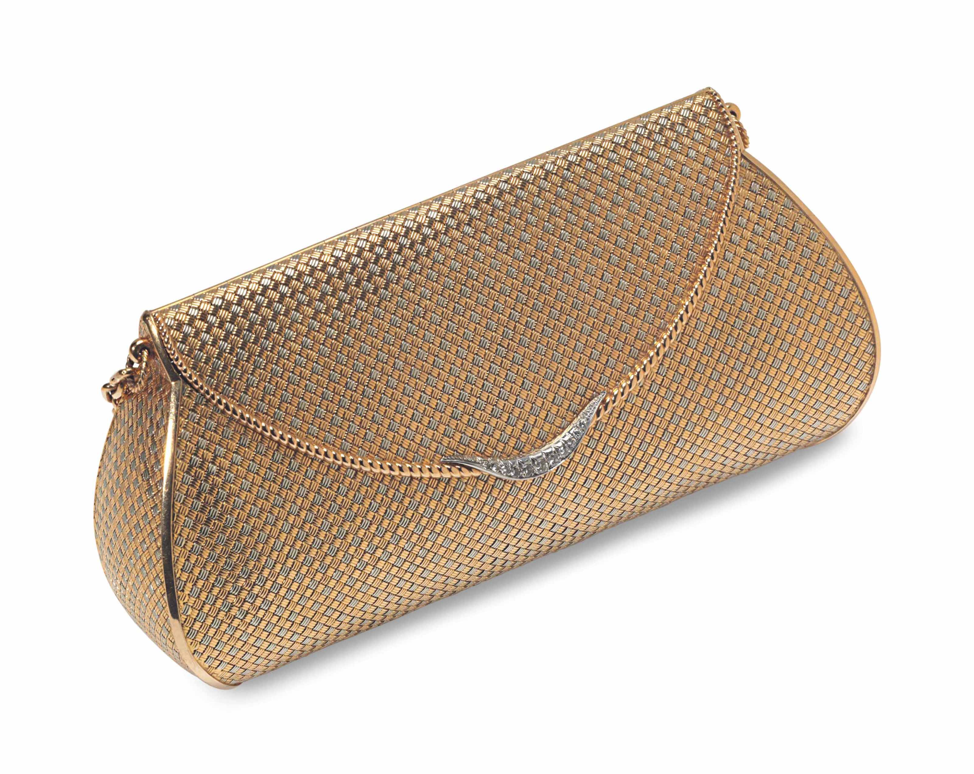 A GOLD AND DIAMOND EVENING BAG, BY LAYKIN ET CIE