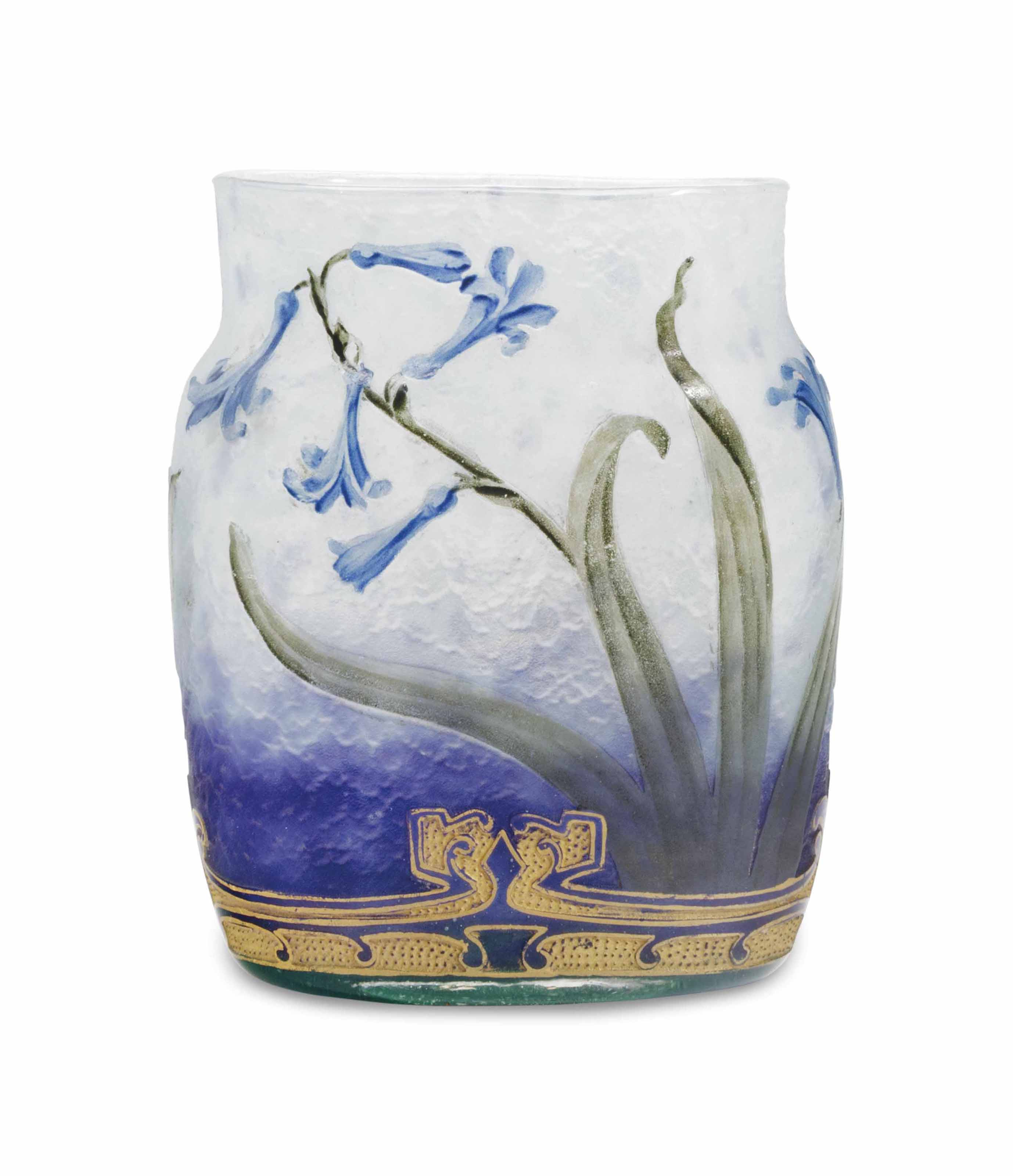 A FRENCH GILT DECORATED ETCHED AND ENAMELED FLATTENED VASE,