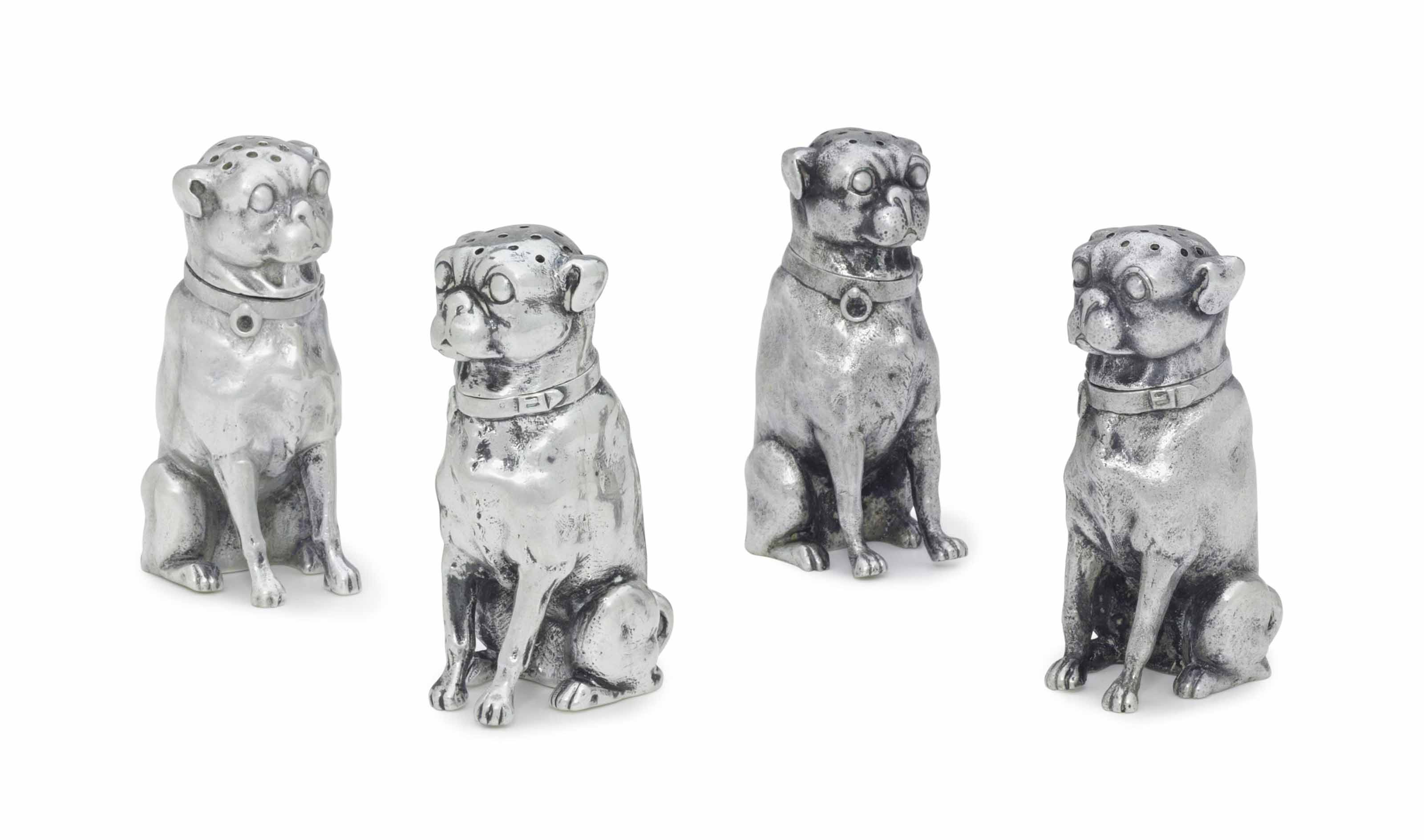 TWO PAIRS OF SILVER BULLDOG-FORM SALT AND PEPPER CASTERS