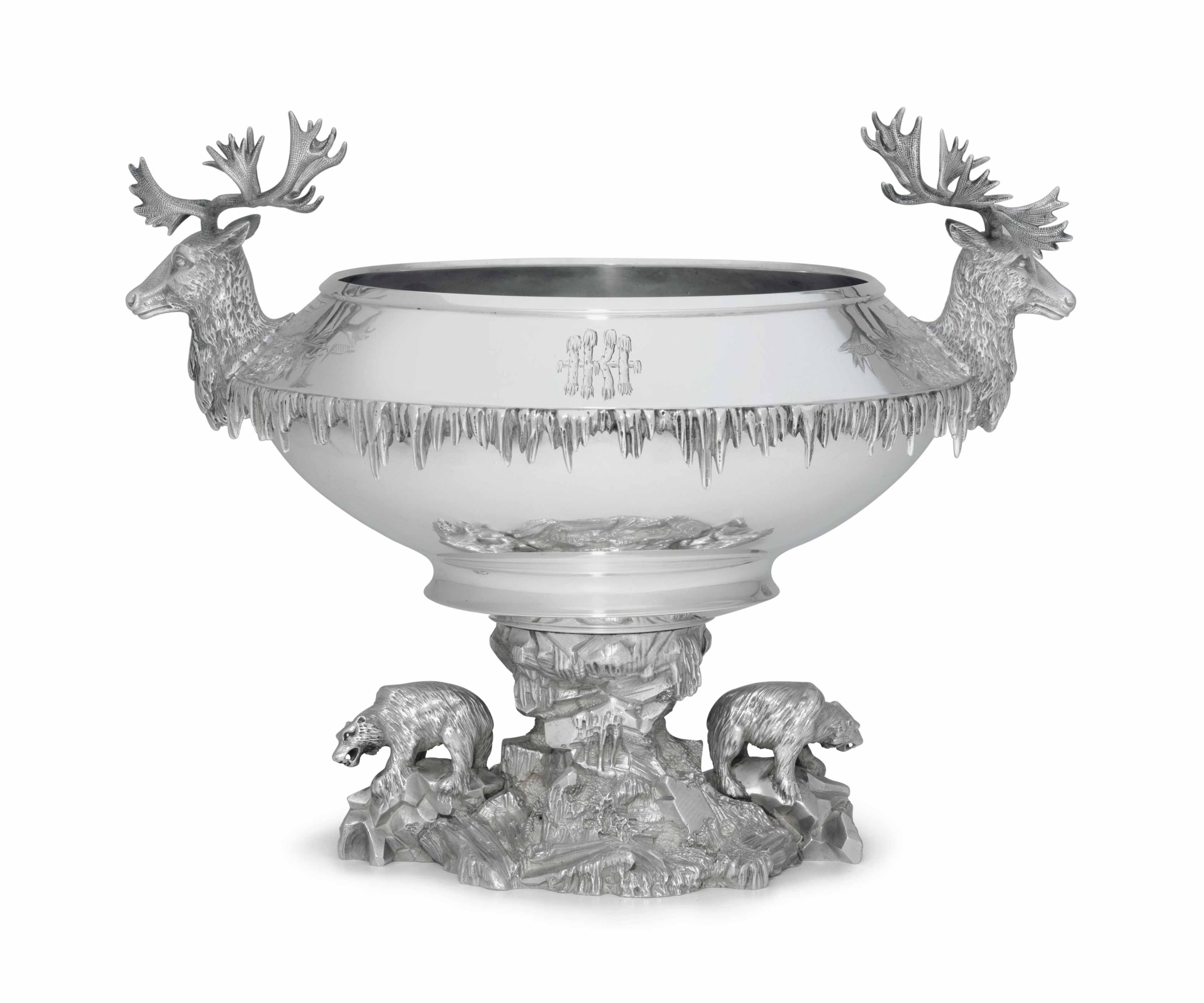 A SILVER ICE BOWL IN ALASKAN STYLE