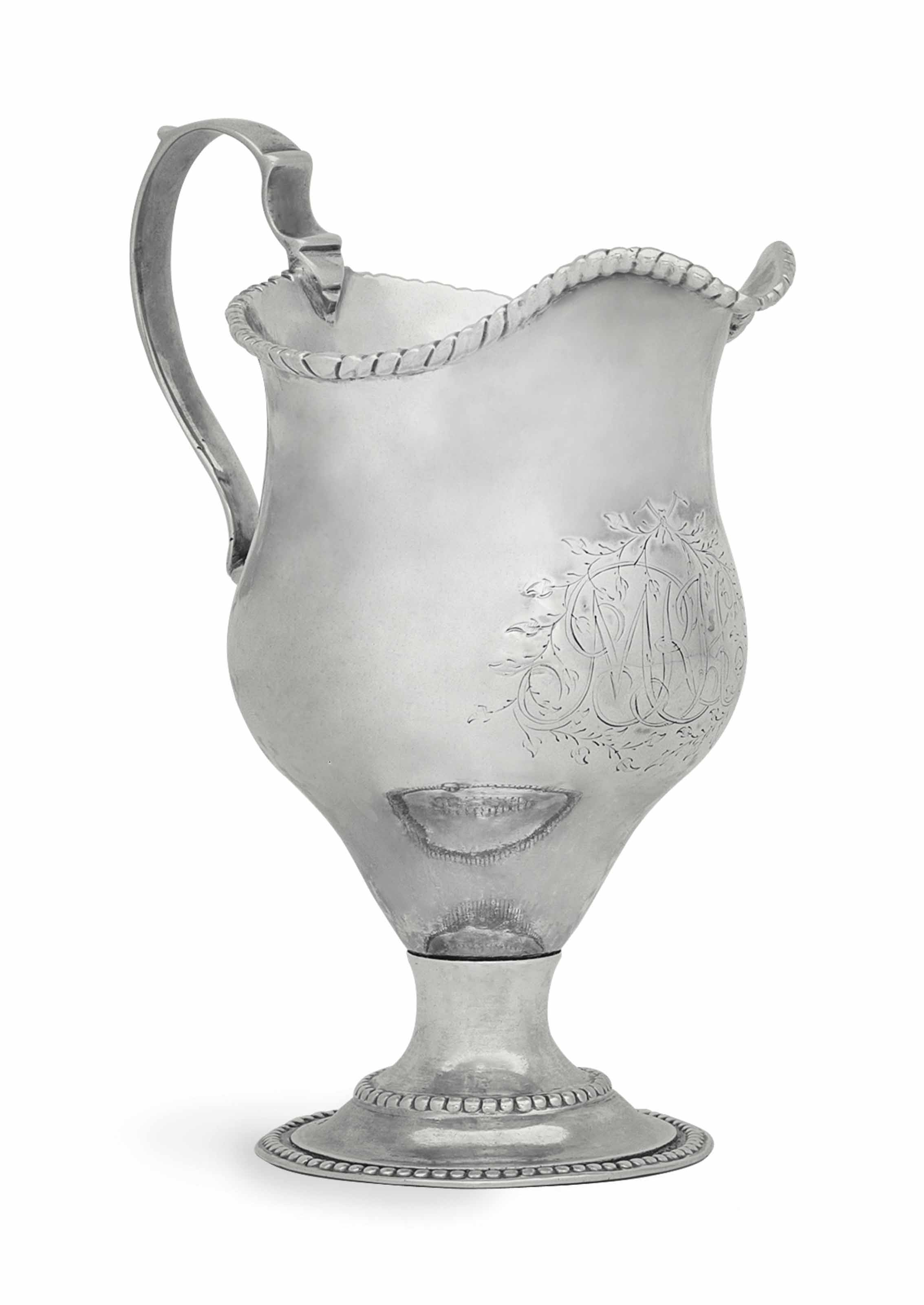 A SILVER CREAM JUG MADE FOR MOSES MICHAEL HAYS