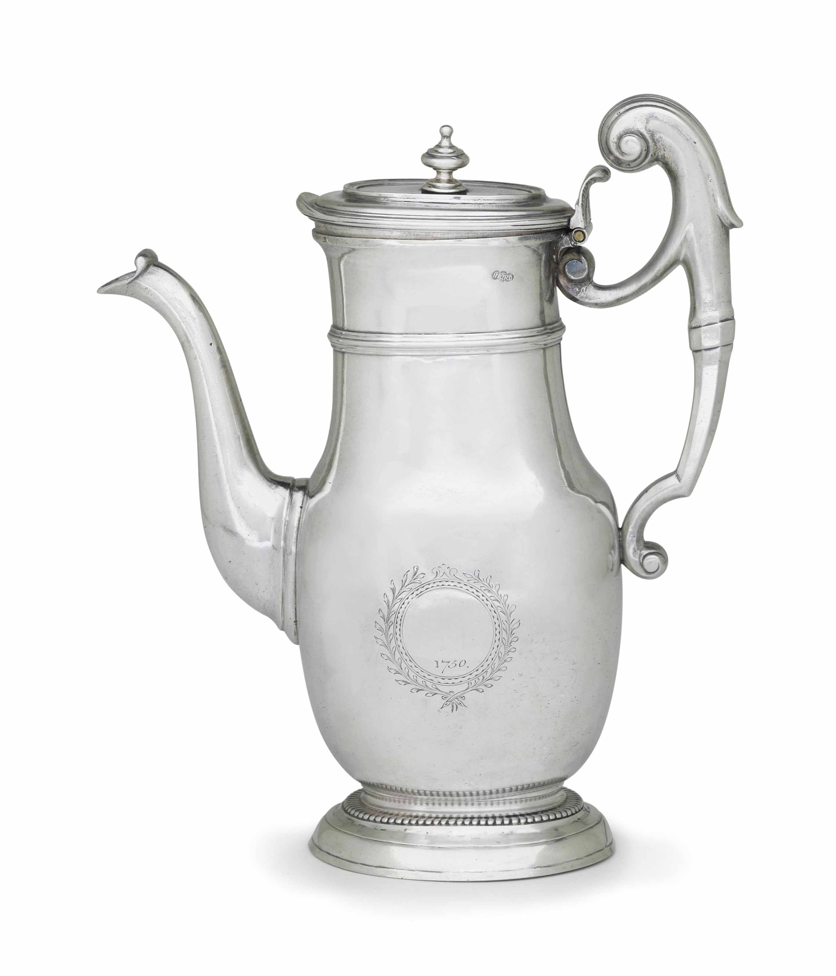 A FRENCH AND AMERICAN SILVER COFFEE JUG